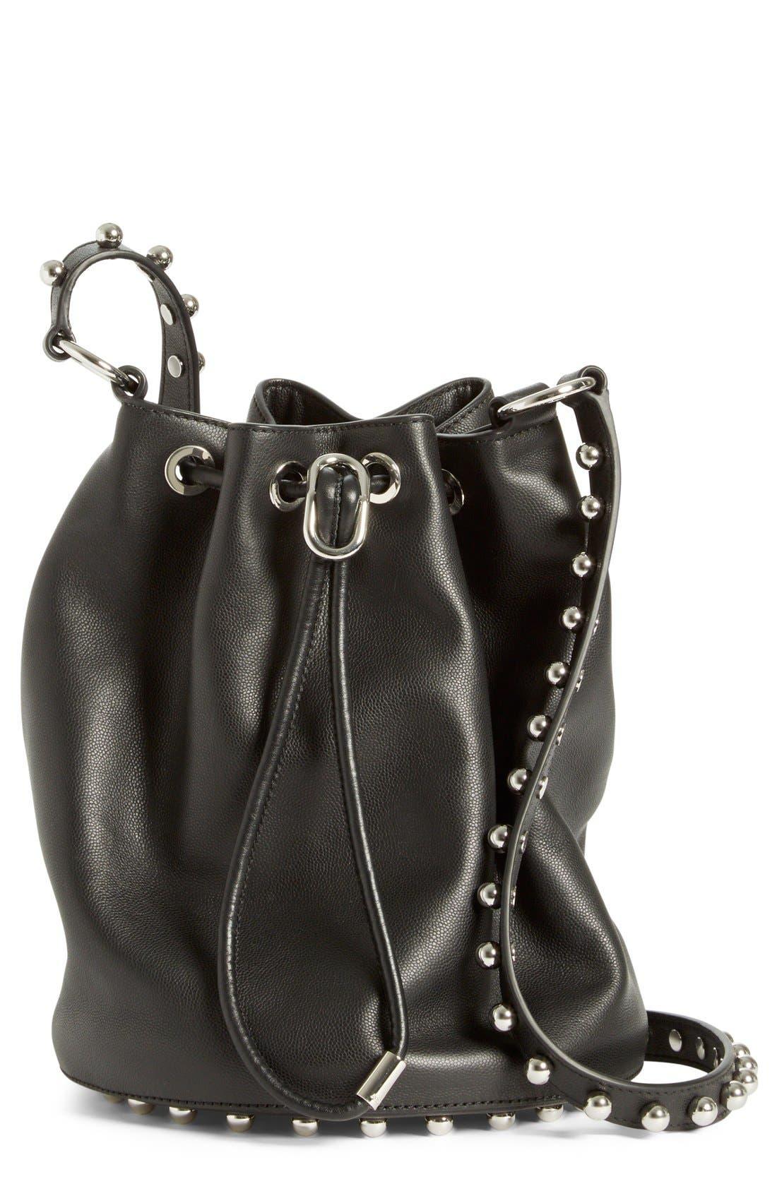 ALEXANDER WANG, 'Alfa' Studded Leather Bucket Bag, Main thumbnail 1, color, 001