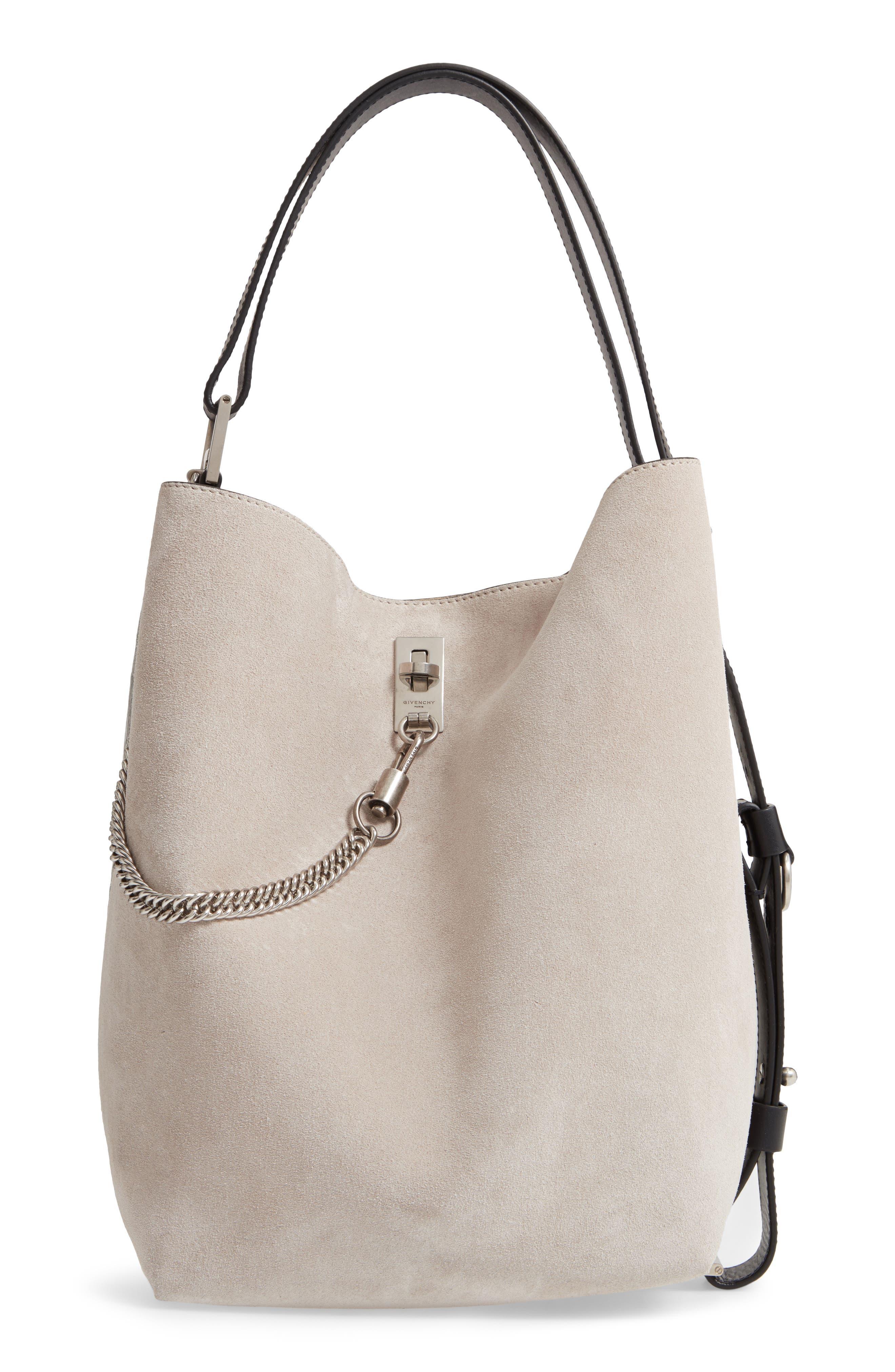 GIVENCHY, Medium GV Calfskin Suede Bucket Bag, Main thumbnail 1, color, NATURAL/ SILVER