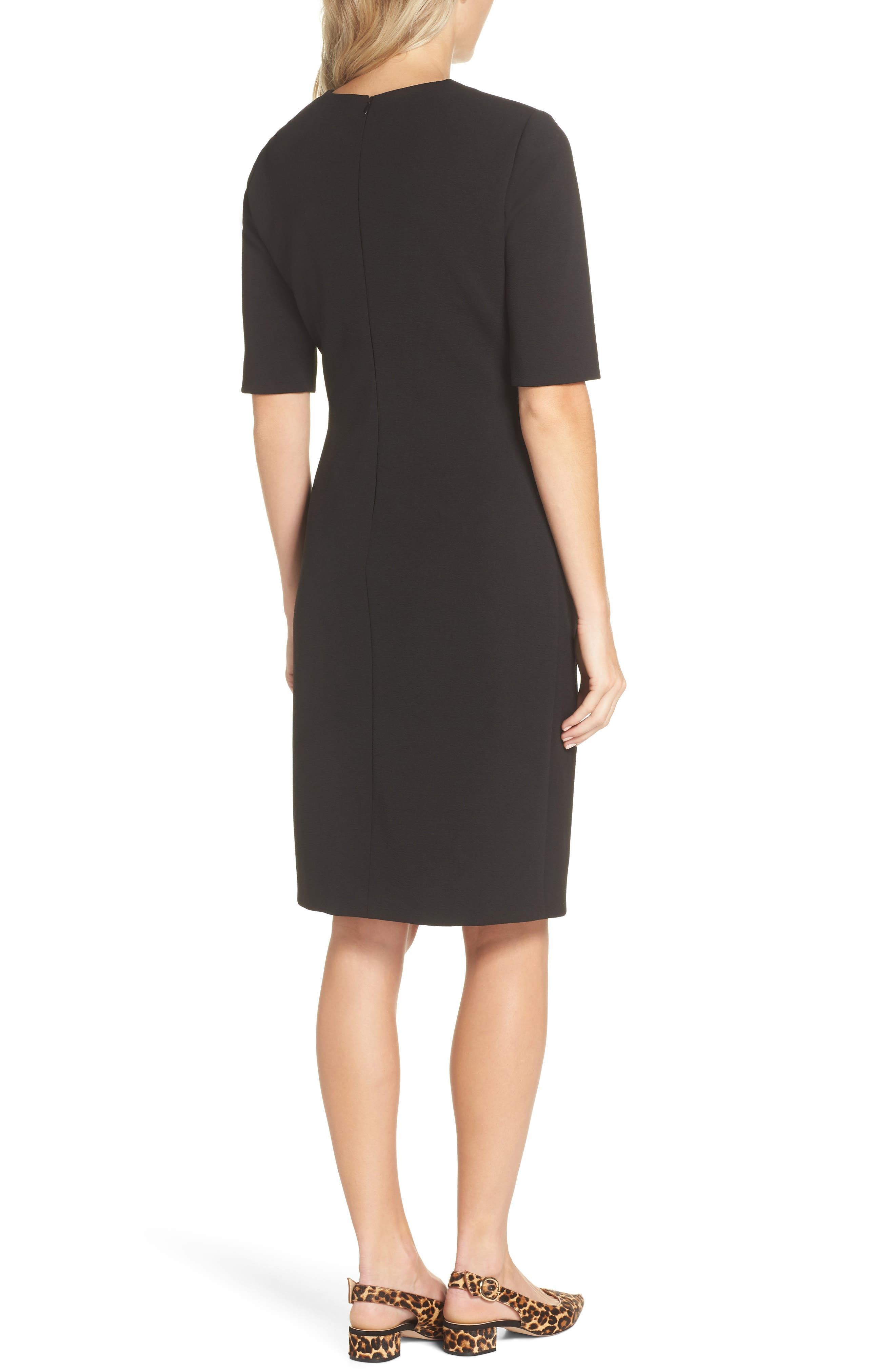 TAHARI, Scuba Crepe Sheath Dress, Alternate thumbnail 2, color, BLACK