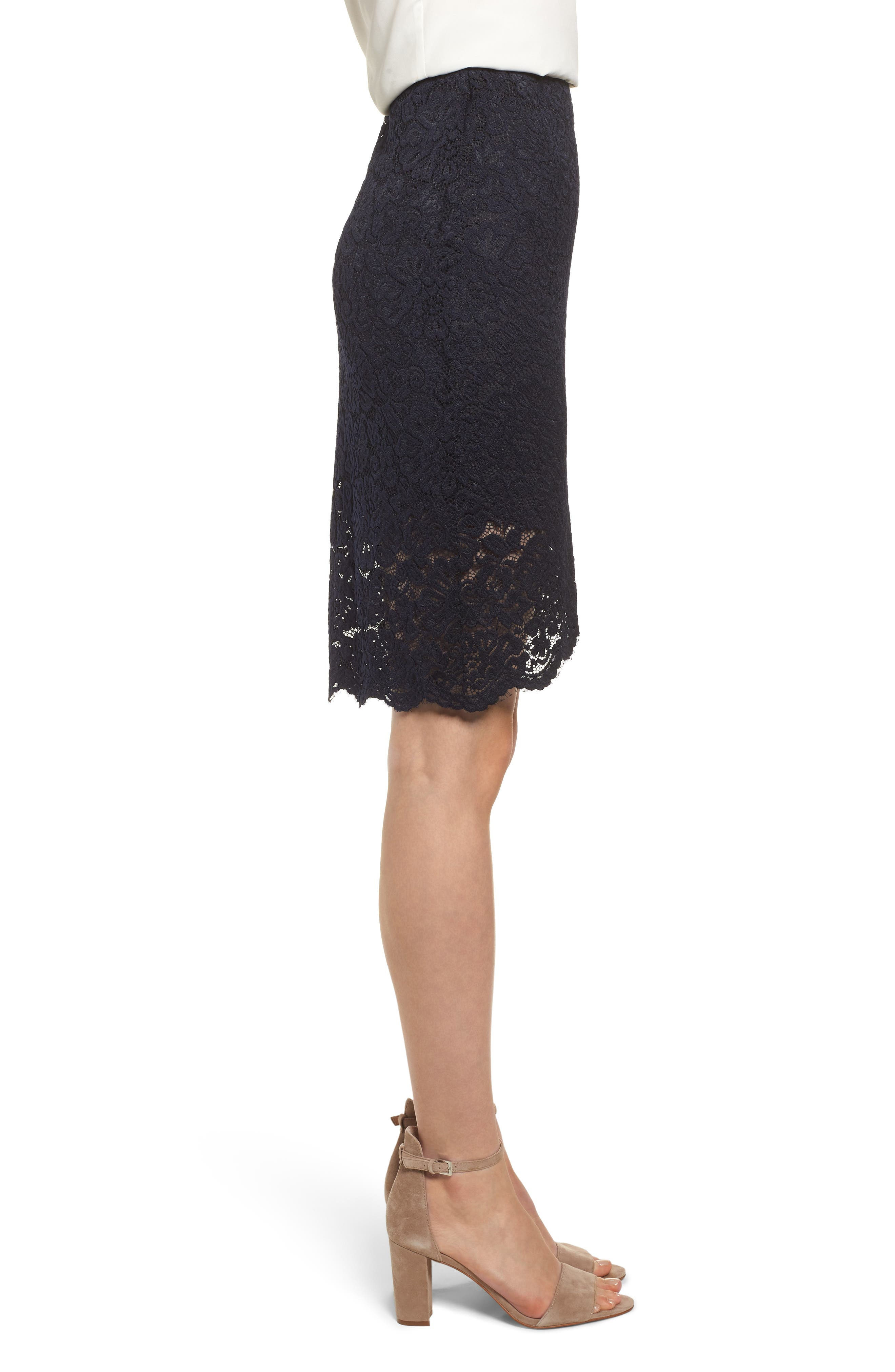 ROSEMUNDE, Lace Pencil Skirt, Alternate thumbnail 3, color, 001