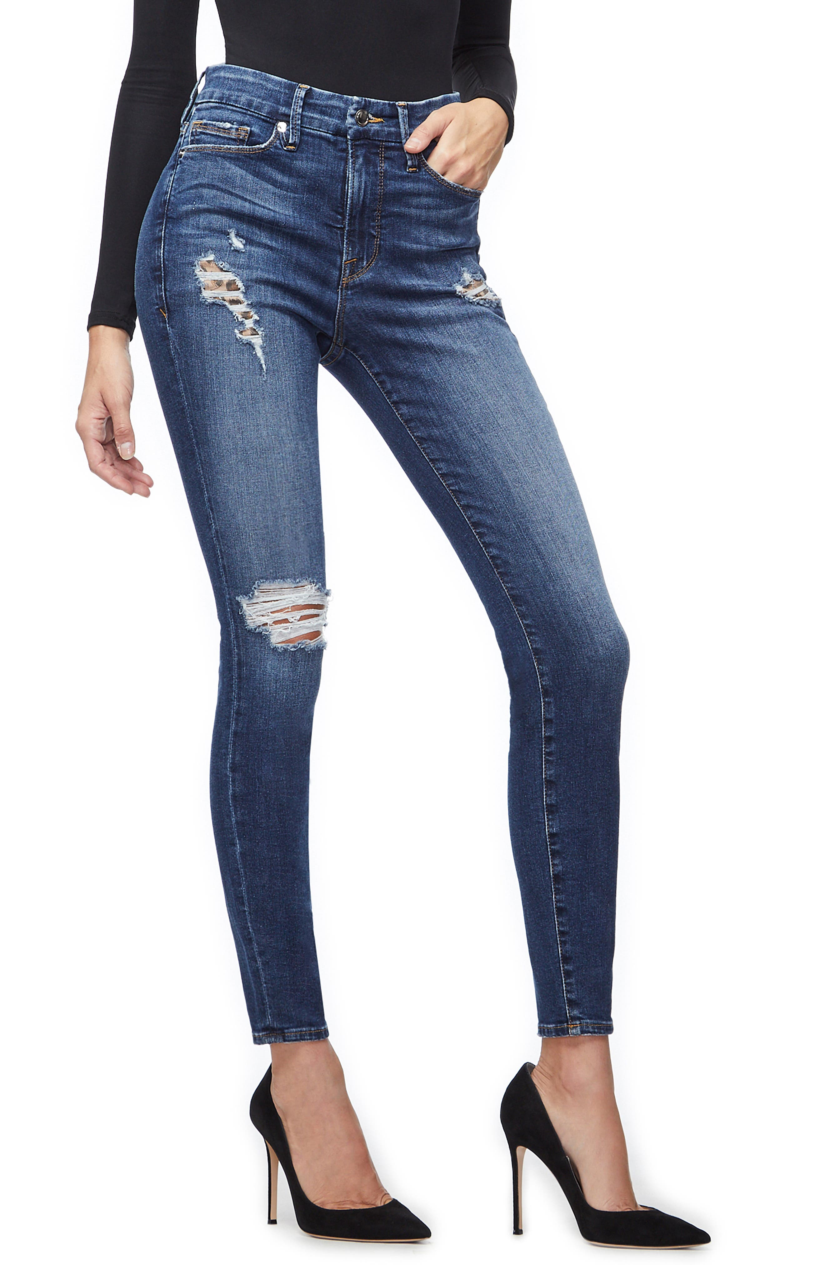 GOOD AMERICAN, Good Legs Cheetah Pockets High Waist Jeans, Alternate thumbnail 5, color, BLUE203