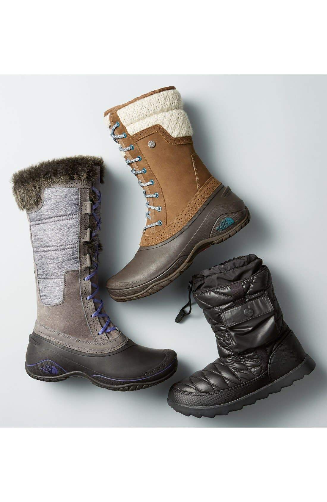 THE NORTH FACE, Shellista Waterproof Insulated Snow Boot, Alternate thumbnail 7, color, GRISAILLE GREY/ VINTAGE WHITE