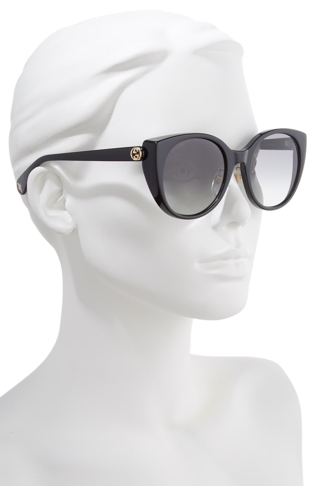 GUCCI, 54mm Cat Eye Sunglasses, Alternate thumbnail 2, color, BLACK/ GREY GRADIENT