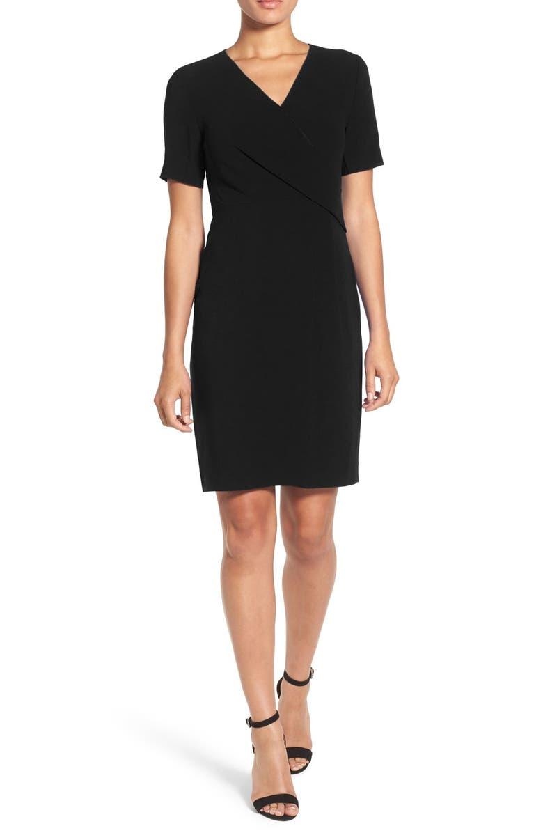 4270d0964ba2e ELIE TAHARI 'Deandra' Pleated Front Faux Wrap Sheath Dress, Main, color,