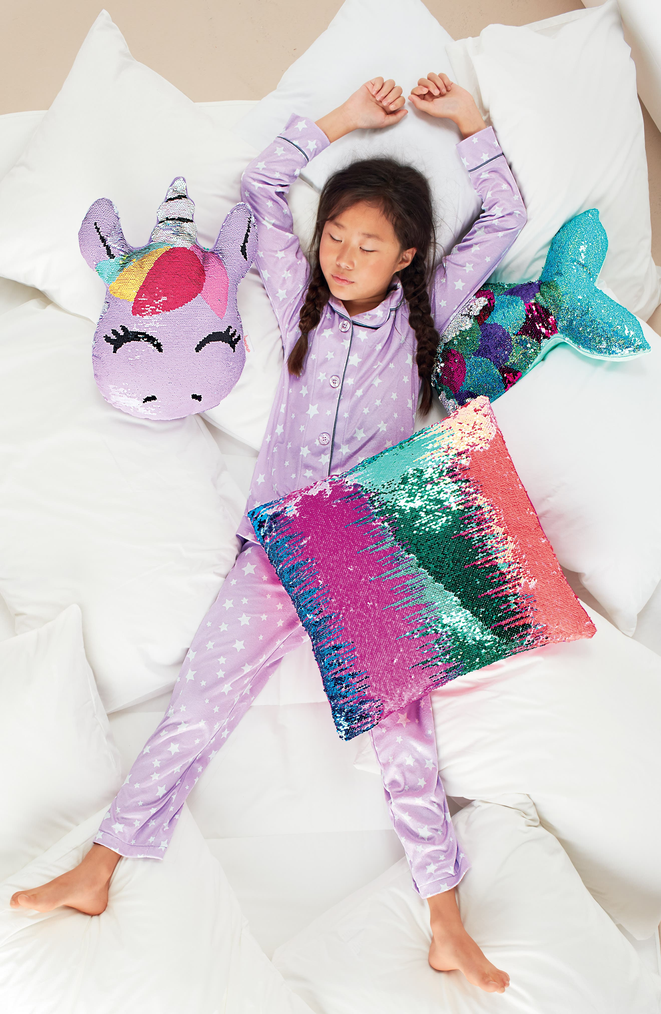 ISCREAM, Unicorn Reversible Sequin Pillow, Alternate thumbnail 5, color, 650