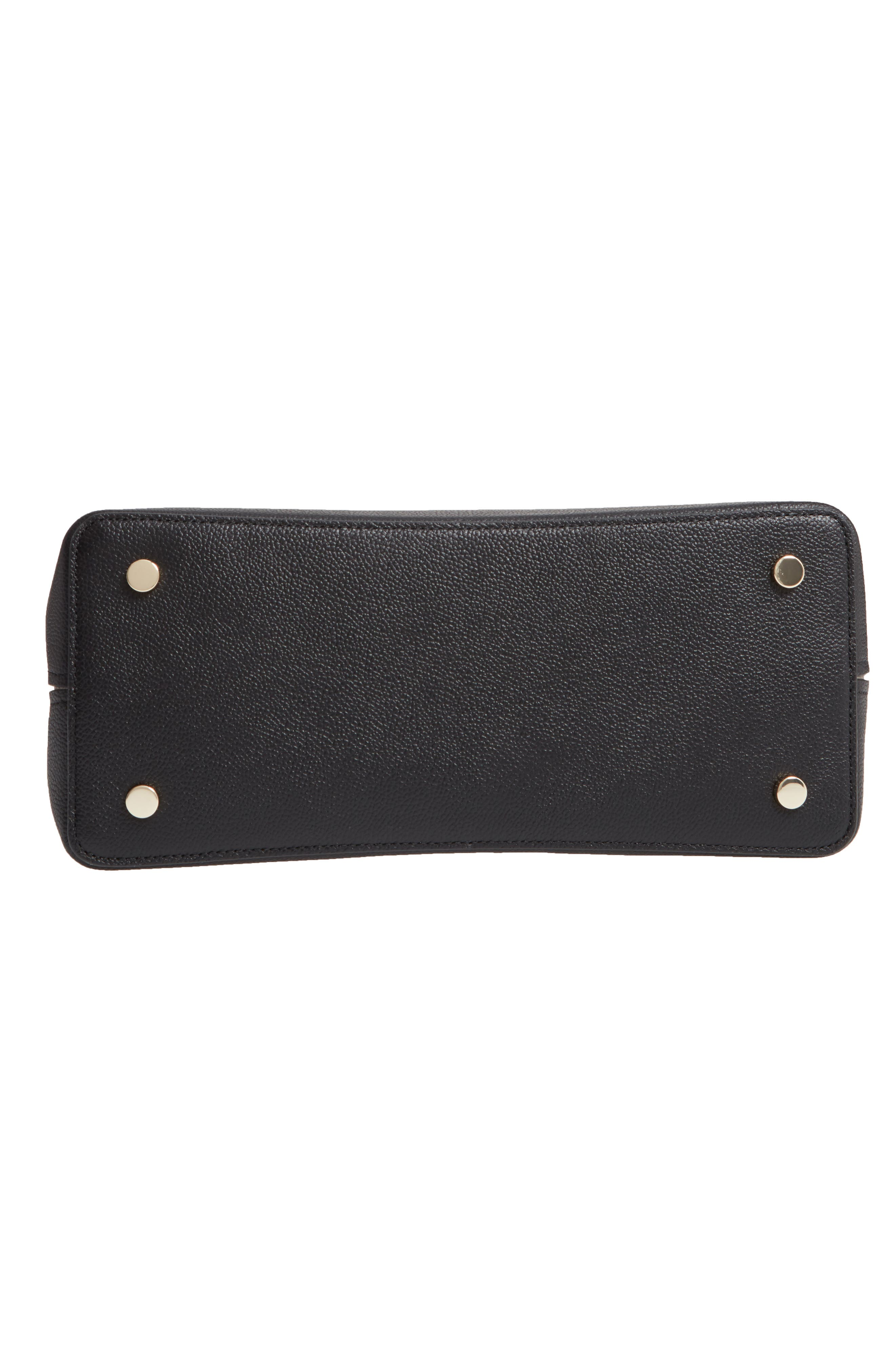 KATE SPADE NEW YORK, large margaux leather satchel, Alternate thumbnail 7, color, BLACK/ WARM TAUPE