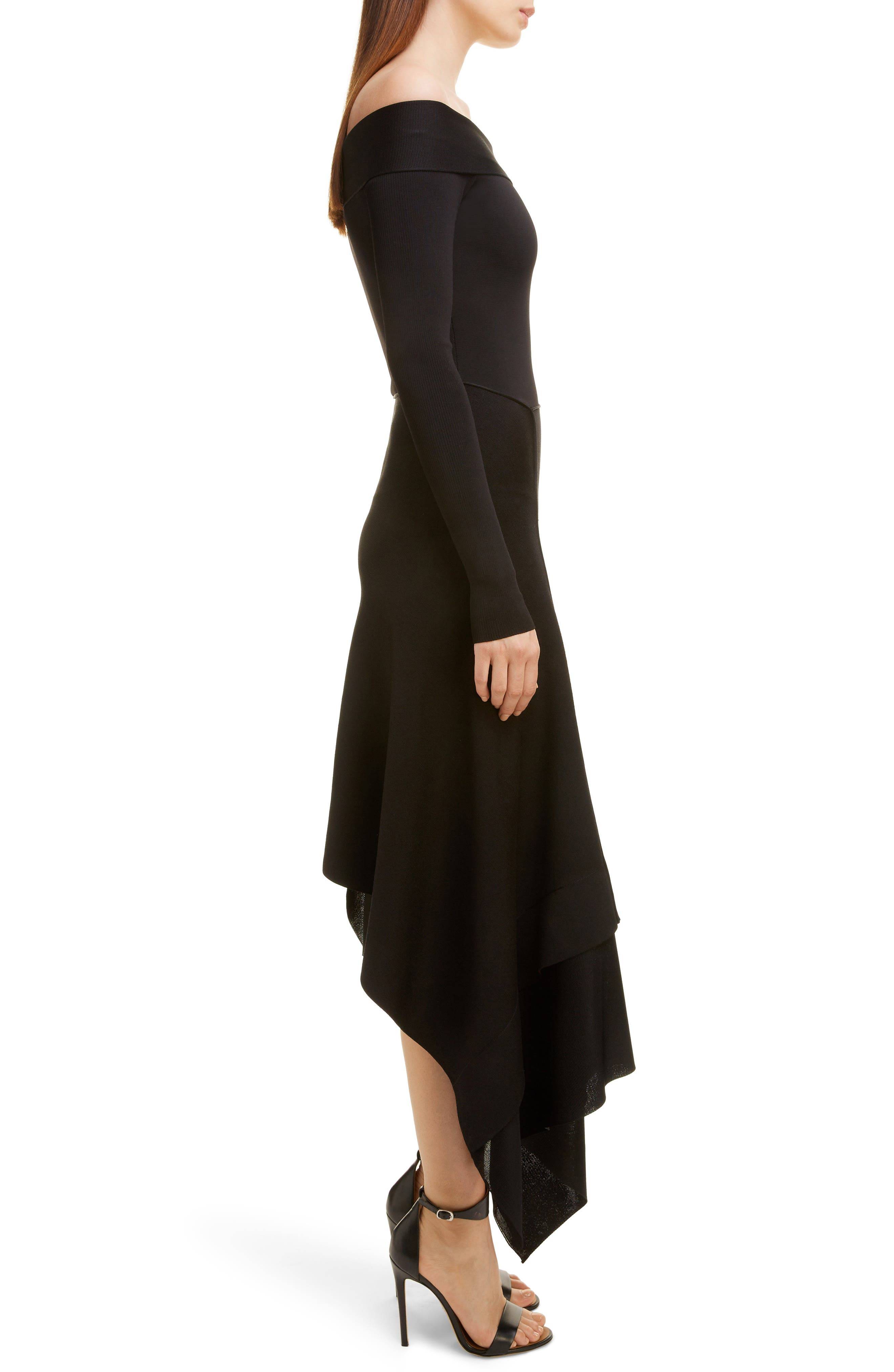 VICTORIA BECKHAM, Long Sleeve Off the Shoulder Asymmetrical Dress, Alternate thumbnail 3, color, BLACK