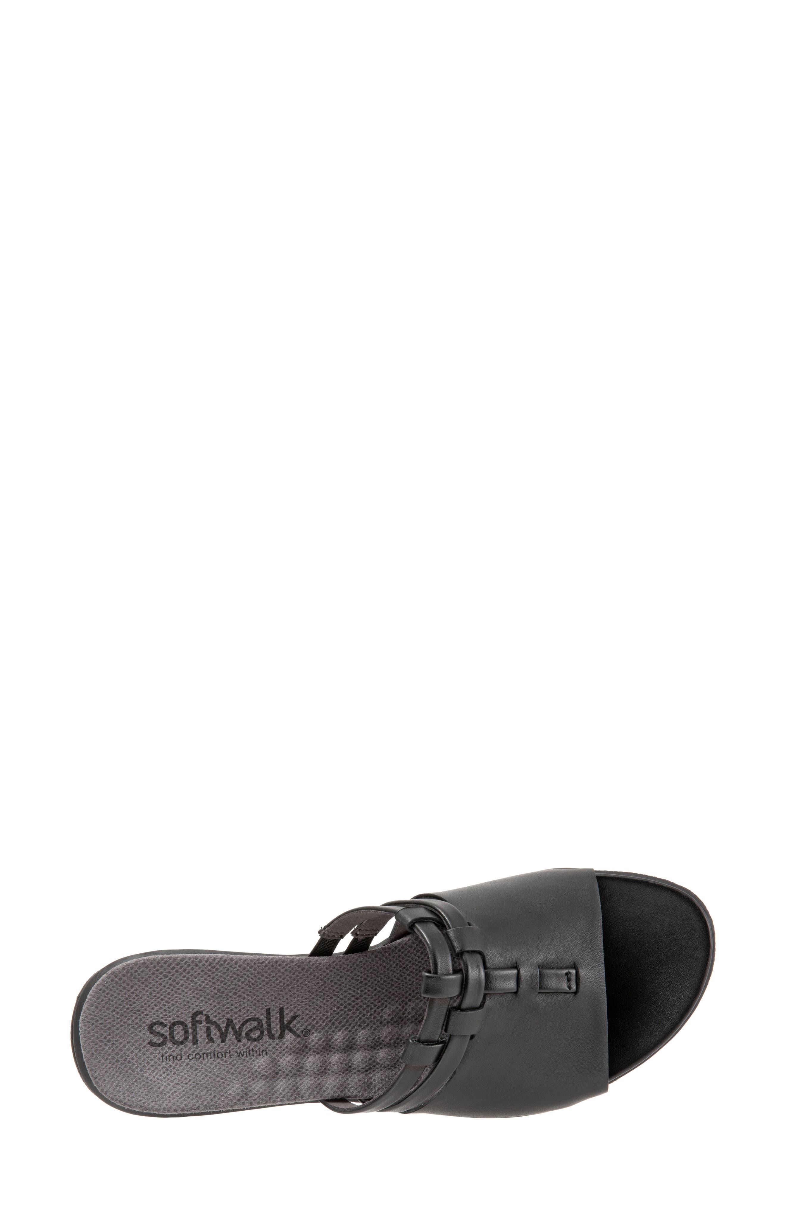 SOFTWALK<SUP>®</SUP>, Tahoma Woven Slide Sandal, Alternate thumbnail 5, color, BLACK LEATHER