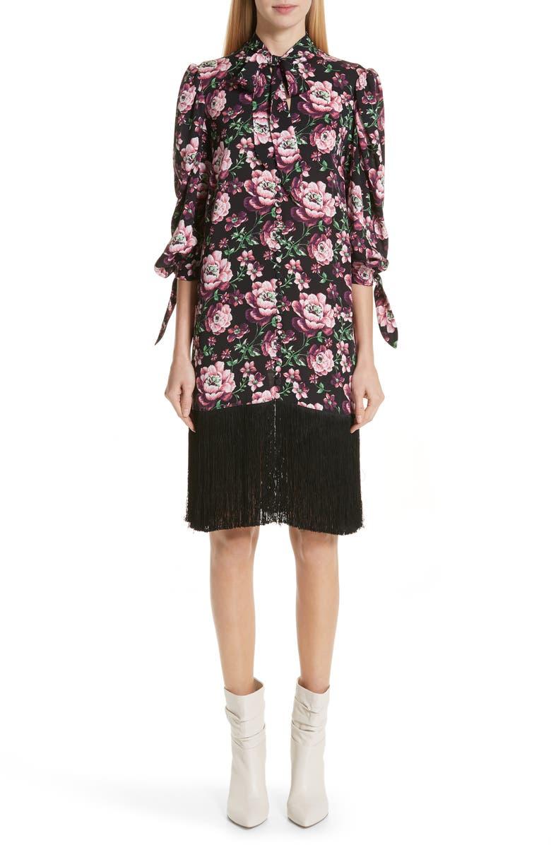 Magda Butrym Dresses GAZA FLORAL PRINT FRINGE HEM SILK DRESS