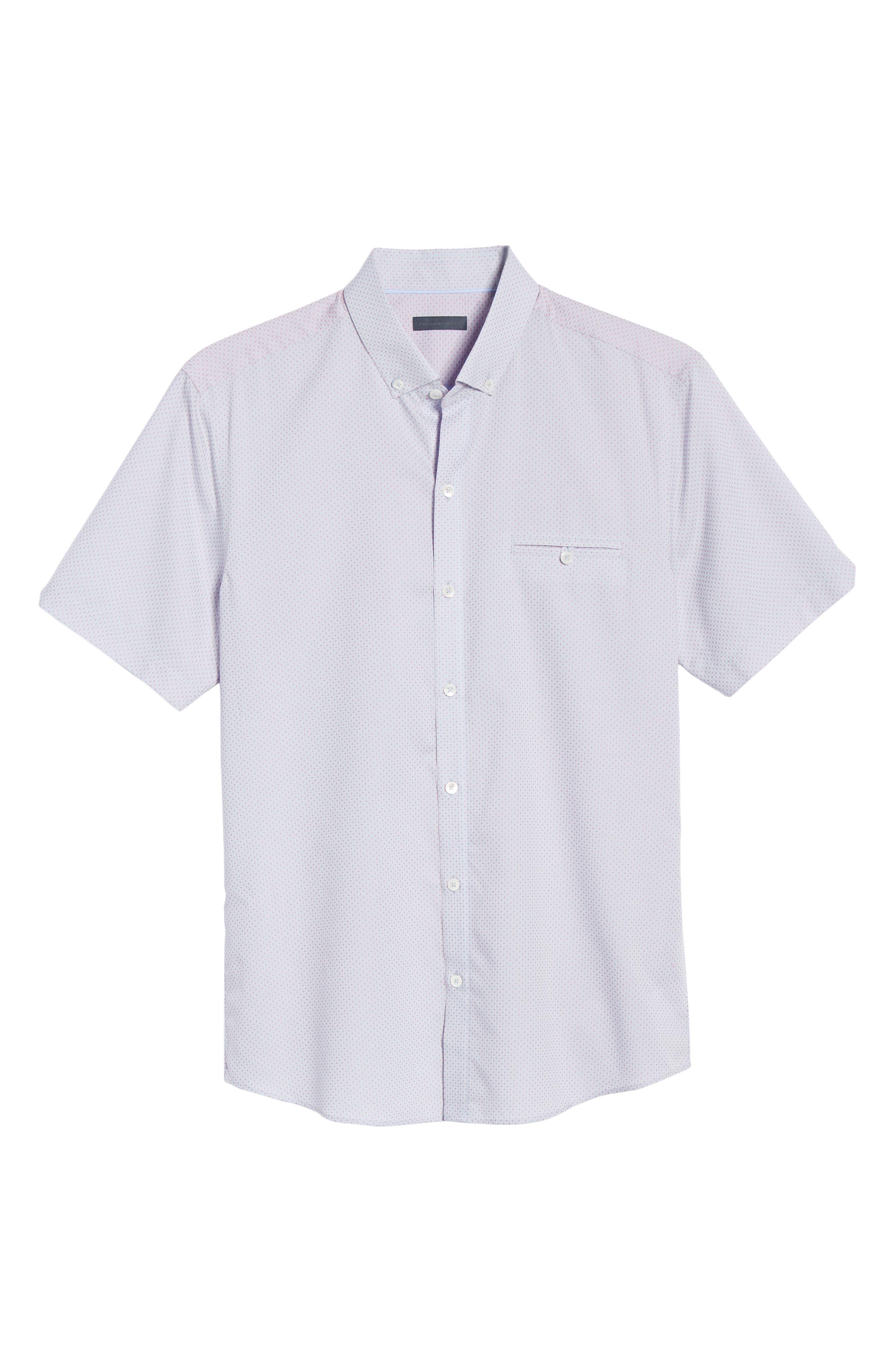 ZACHARY PRELL, McGrew Regular Fit Sport Shirt, Alternate thumbnail 5, color, FLAMINGO
