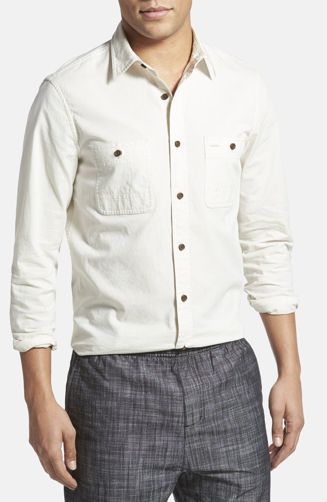 WALLIN & BROS., 'Workwear' Trim Fit Chambray Sport Shirt, Main thumbnail 1, color, 300