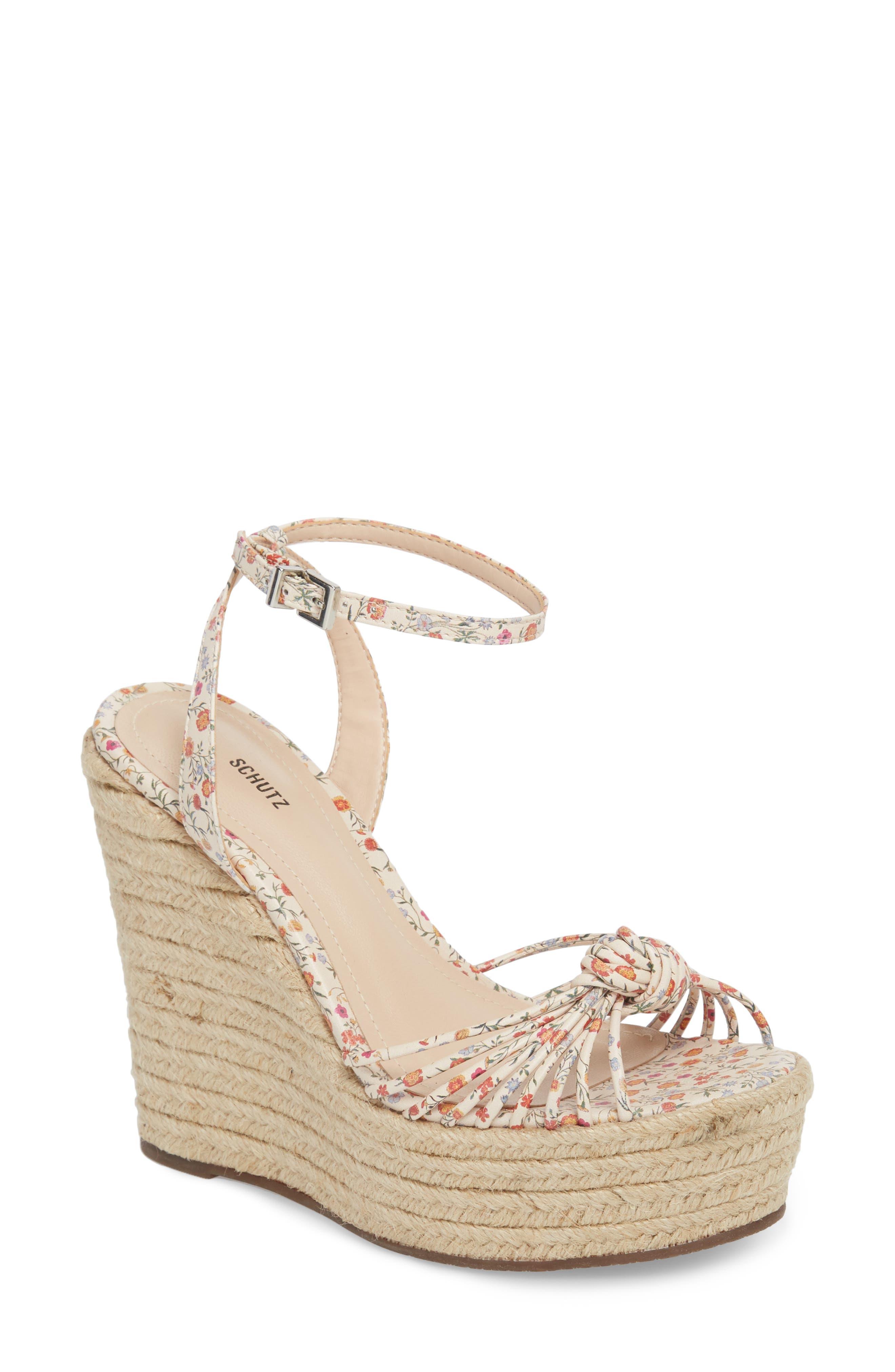 SCHUTZ Gianne Platform Wedge Sandal, Main, color, FLORAL LEATHER