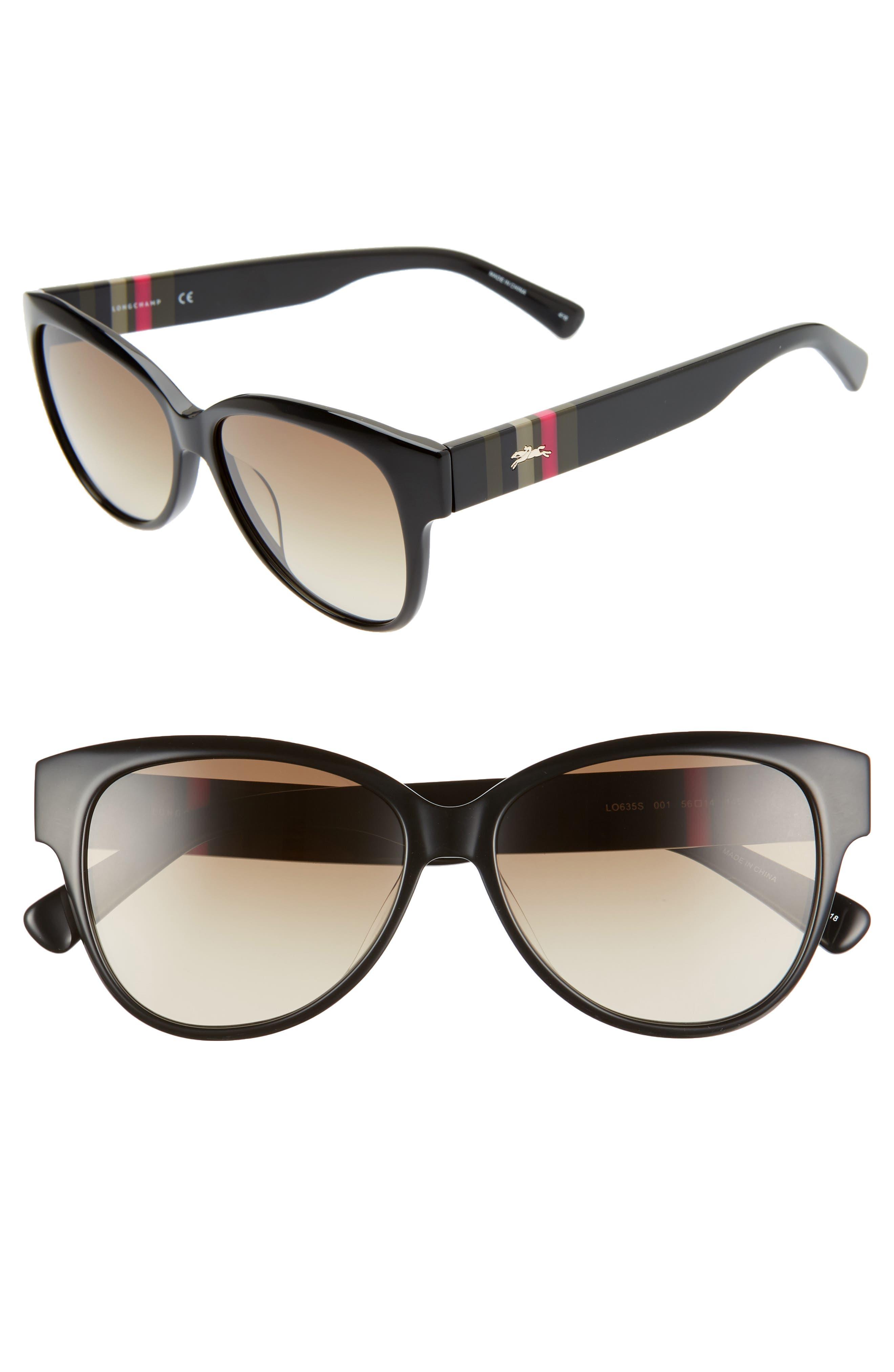 LONGCHAMP Heritage Stripes 56mm Gradient Sunglasses, Main, color, BLACK