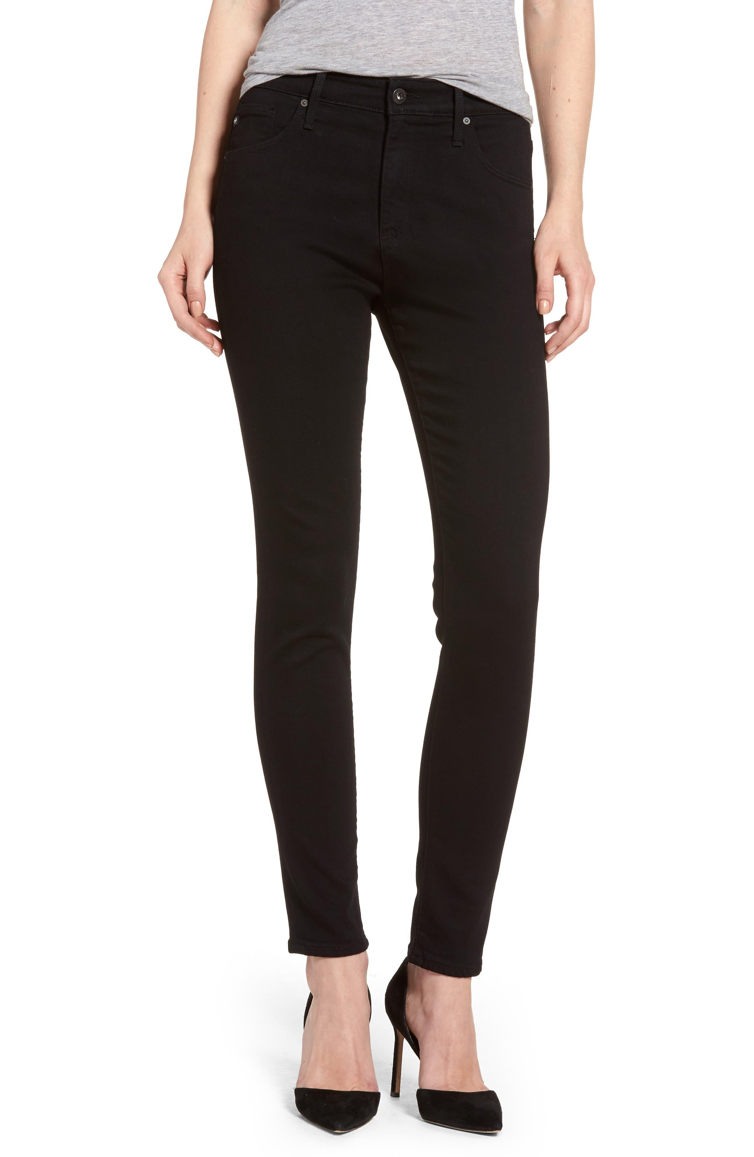 AG, Farrah High Waist Ankle Skinny Jeans, Main thumbnail 1, color, SUPER BLACK