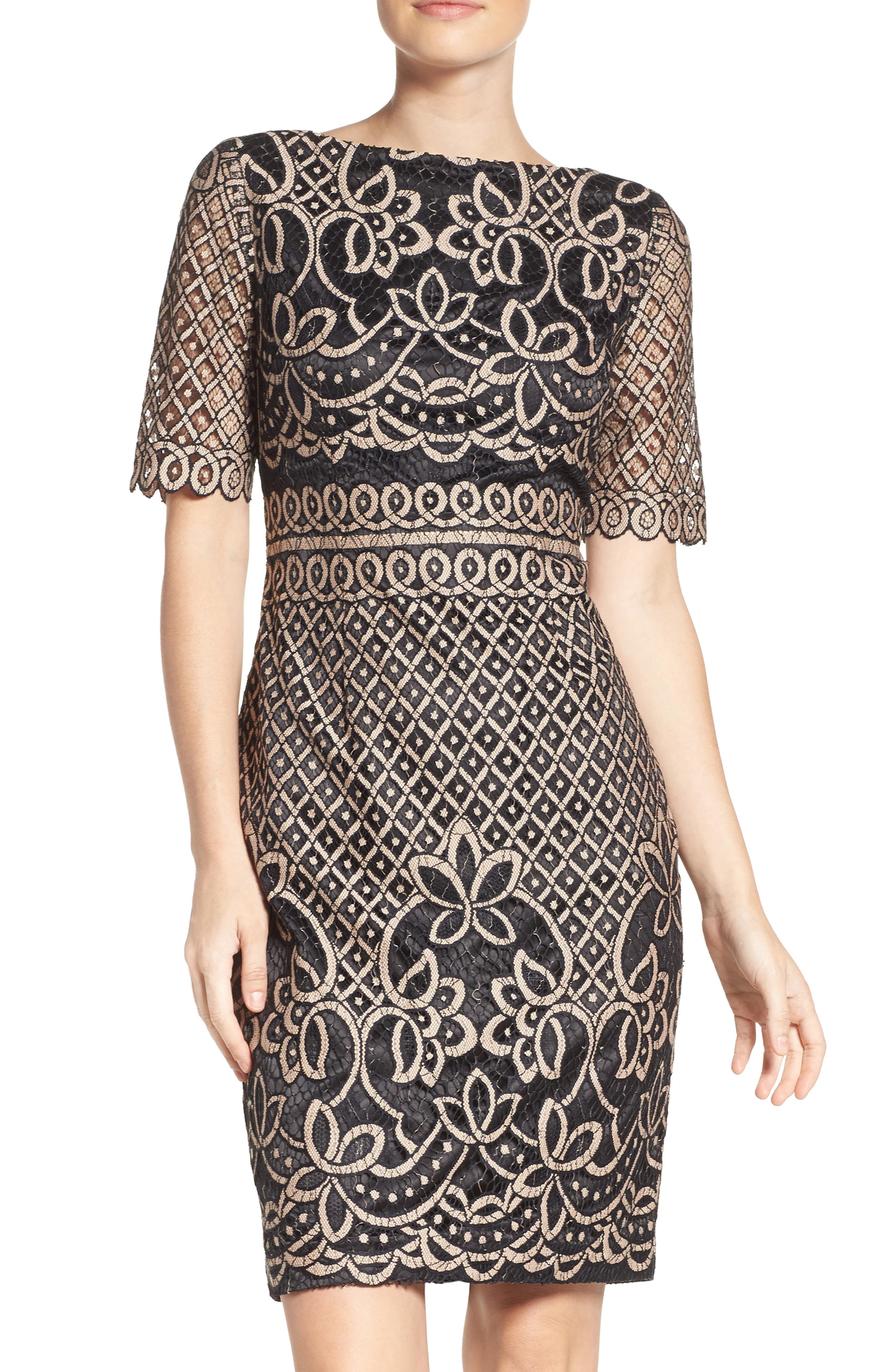 ELIZA J, Lace Sheath Dress, Main thumbnail 1, color, 009