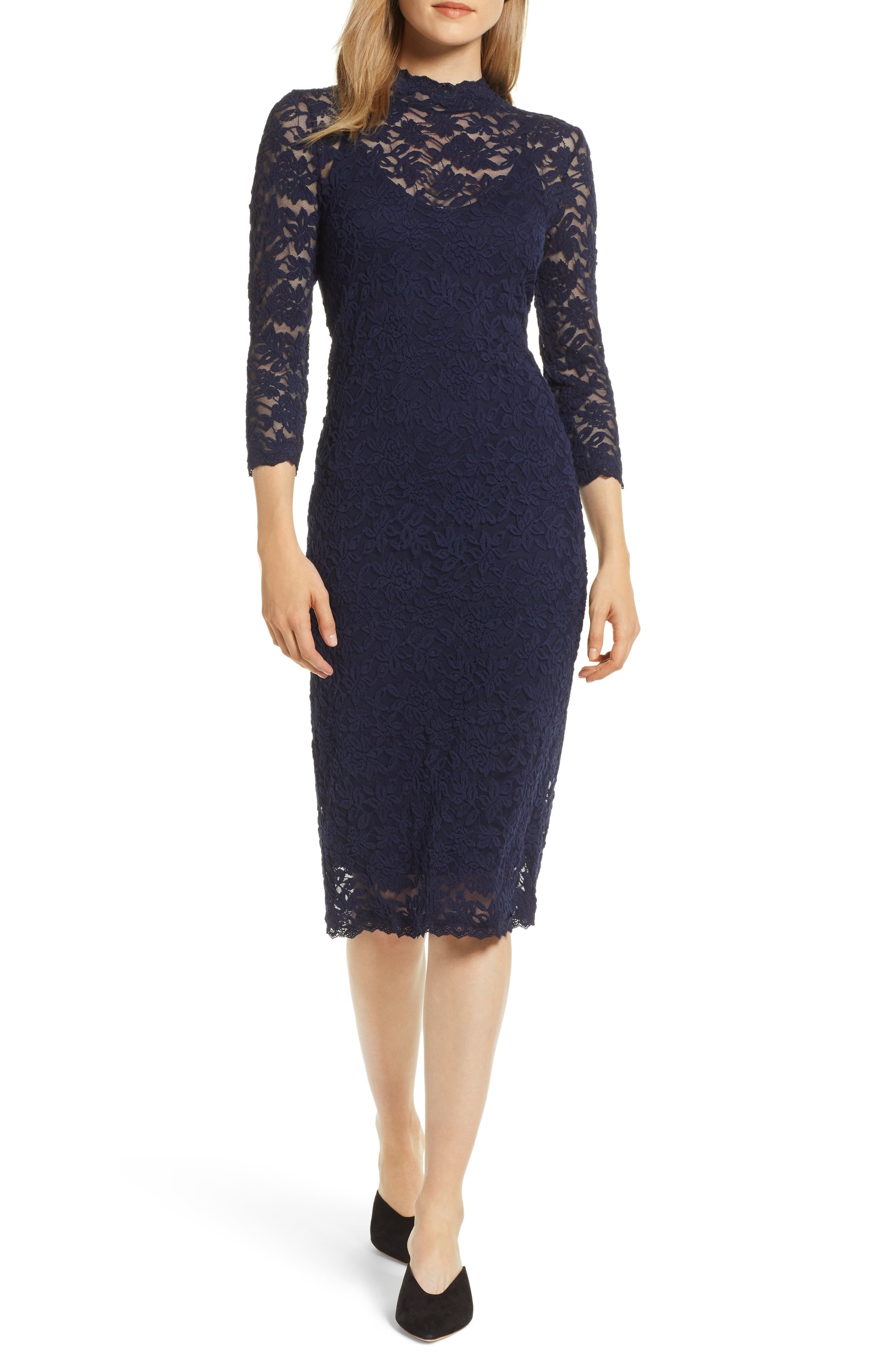 ROSEMUNDE, Delicia Lace Body-Con Dress, Main thumbnail 1, color, MARITIME BLUE