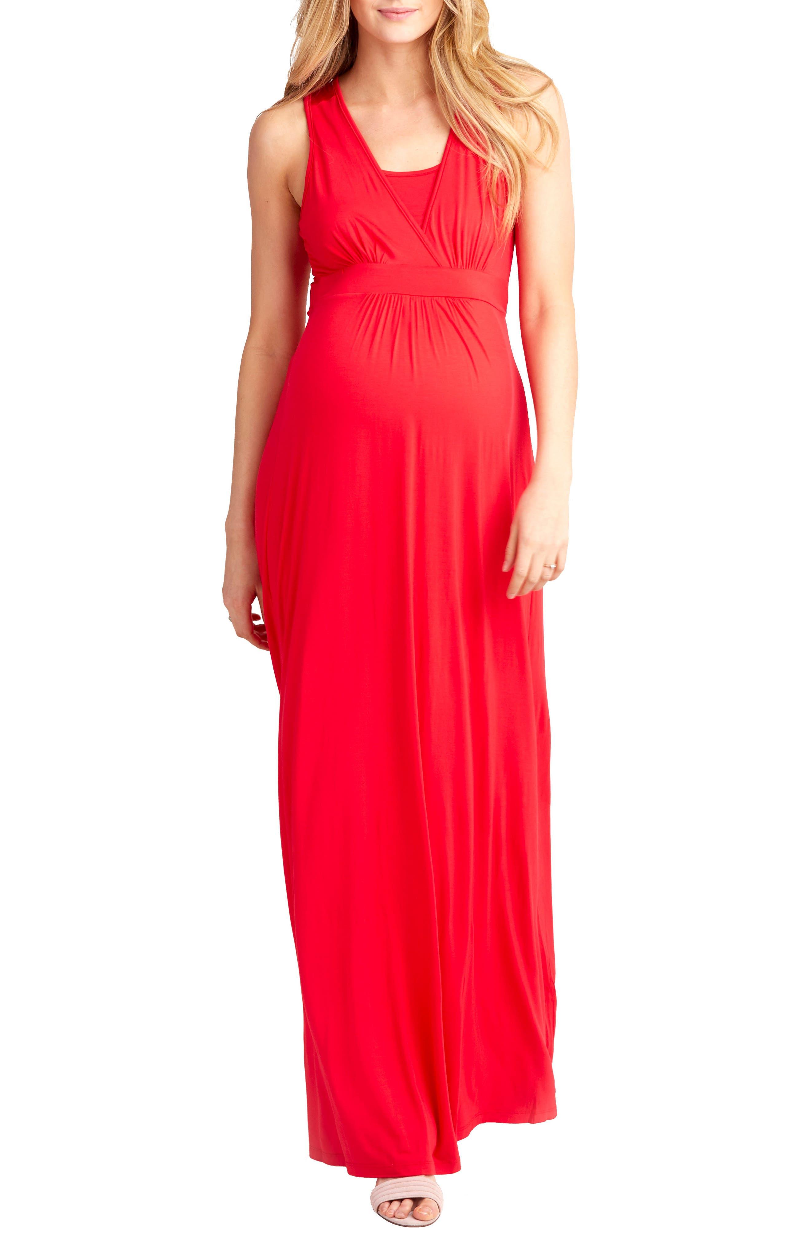 Nom Maternity Hollis Maternity/nursing Maxi Dress, Red