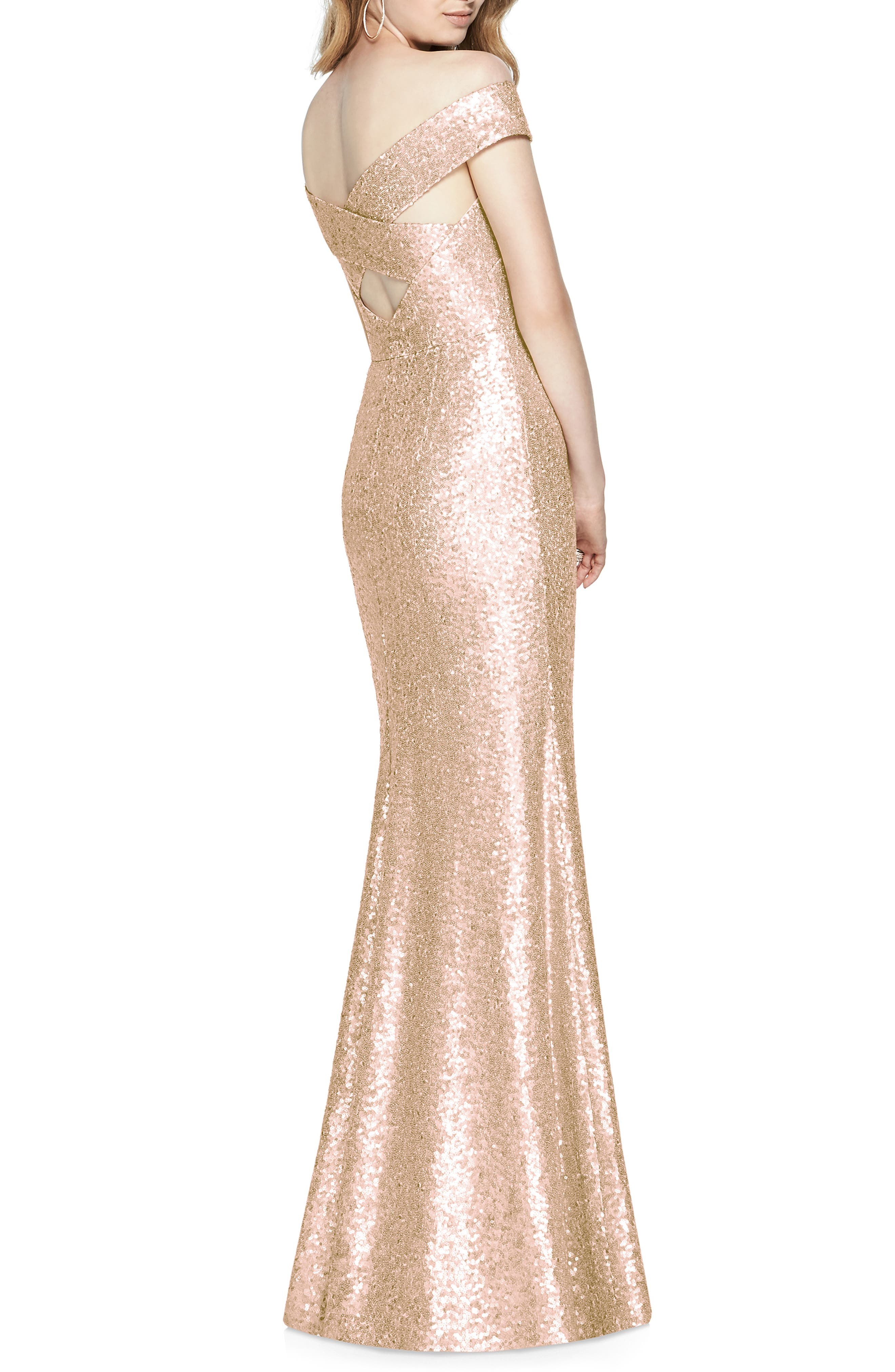 DESSY COLLECTION, Sequin Off the Shoulder Gown, Alternate thumbnail 2, color, ROSE GOLD