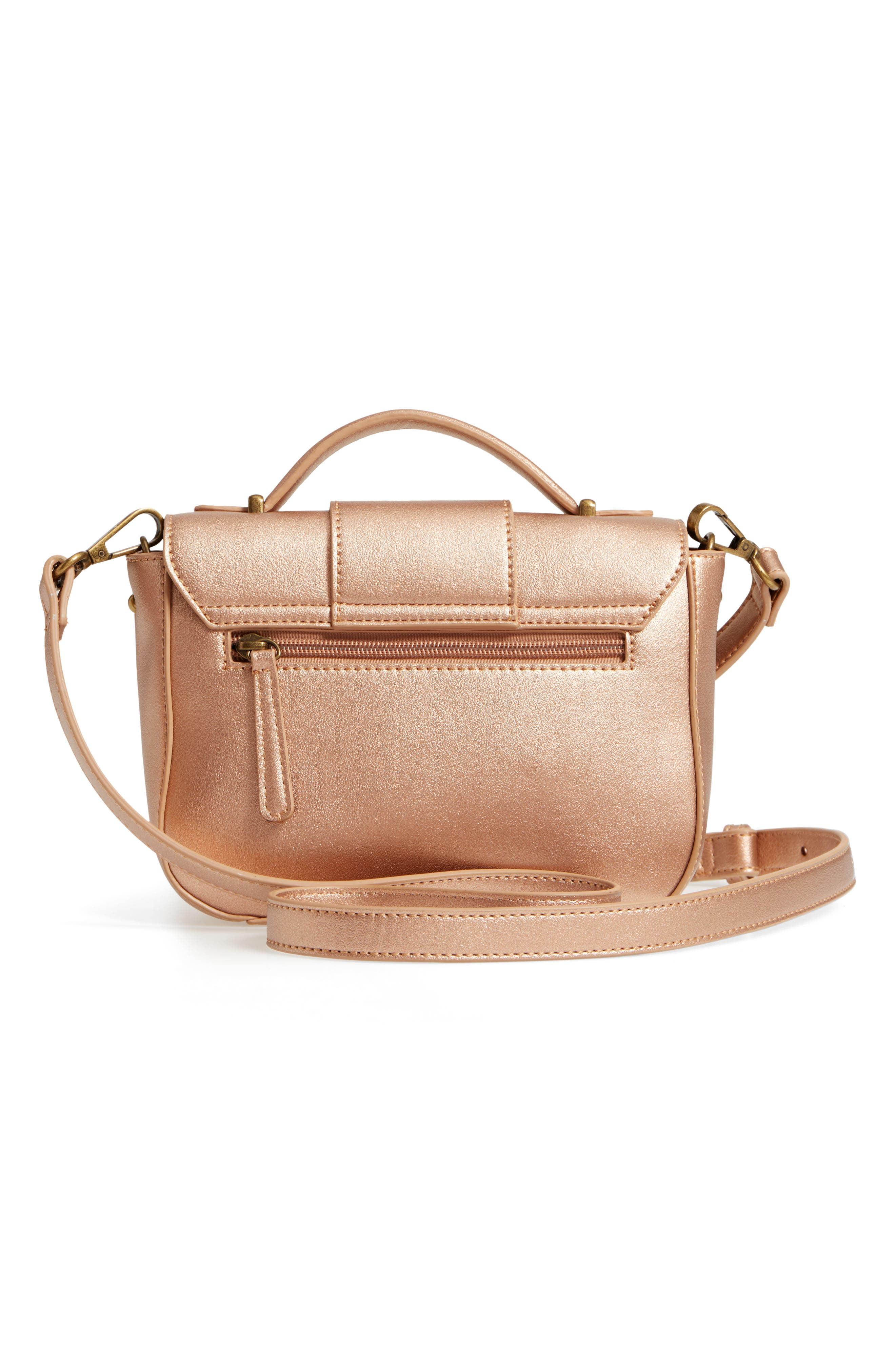 MALIBU SKYE, Oversize Buckle Top Handle Bag, Alternate thumbnail 4, color, ROSE GOLD