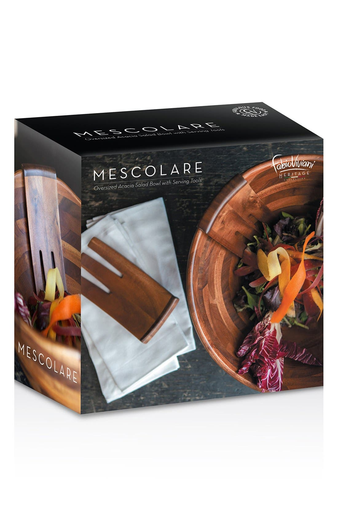 PICNIC TIME, 'Legacy Heritage Collection by Fabio Viviani' Mescolare Salad Bowl, Alternate thumbnail 5, color, BROWN