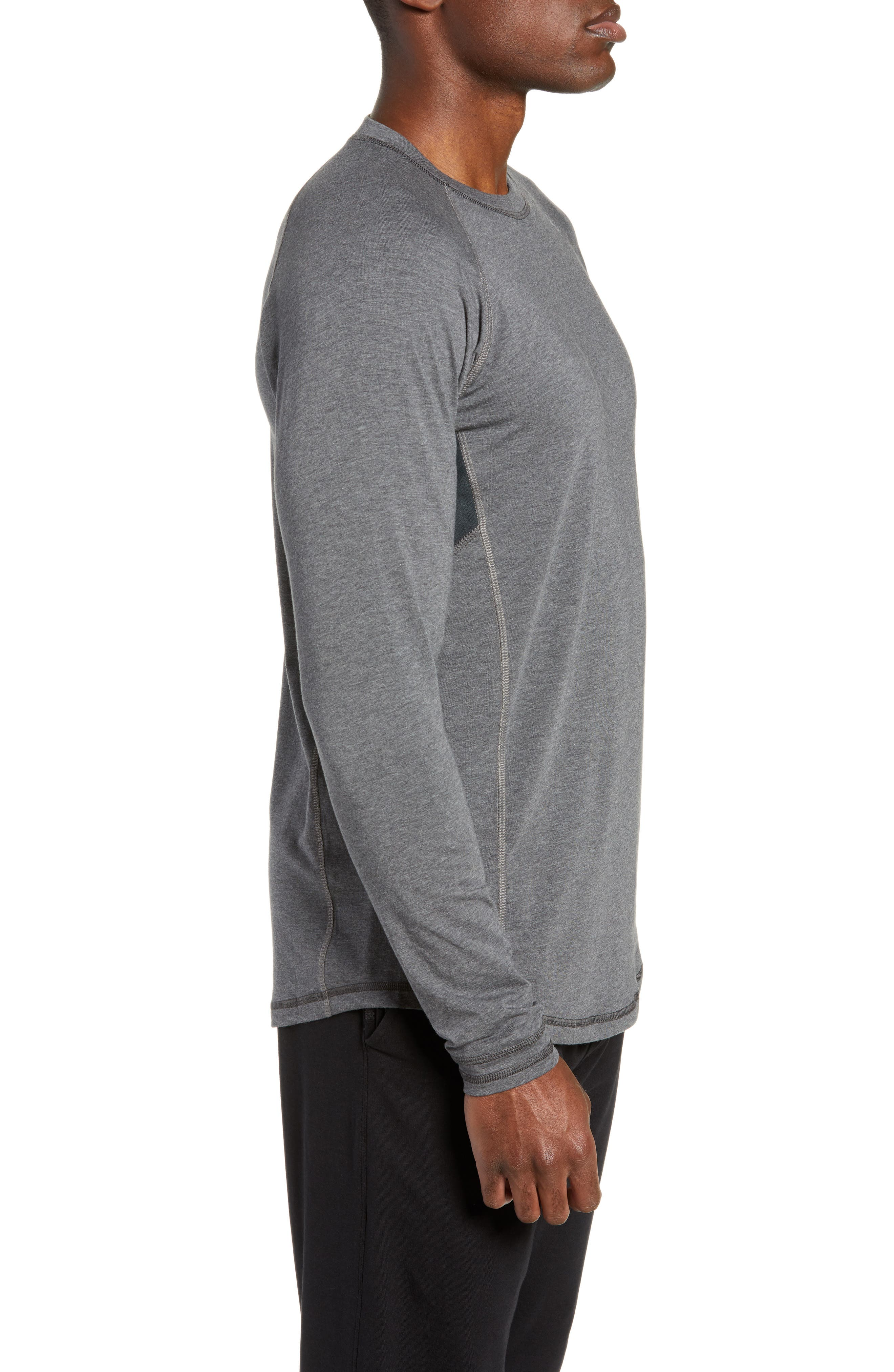 TASC PERFORMANCE, Charge II Long Sleeve Shirt, Alternate thumbnail 3, color, BLACK HEATHER