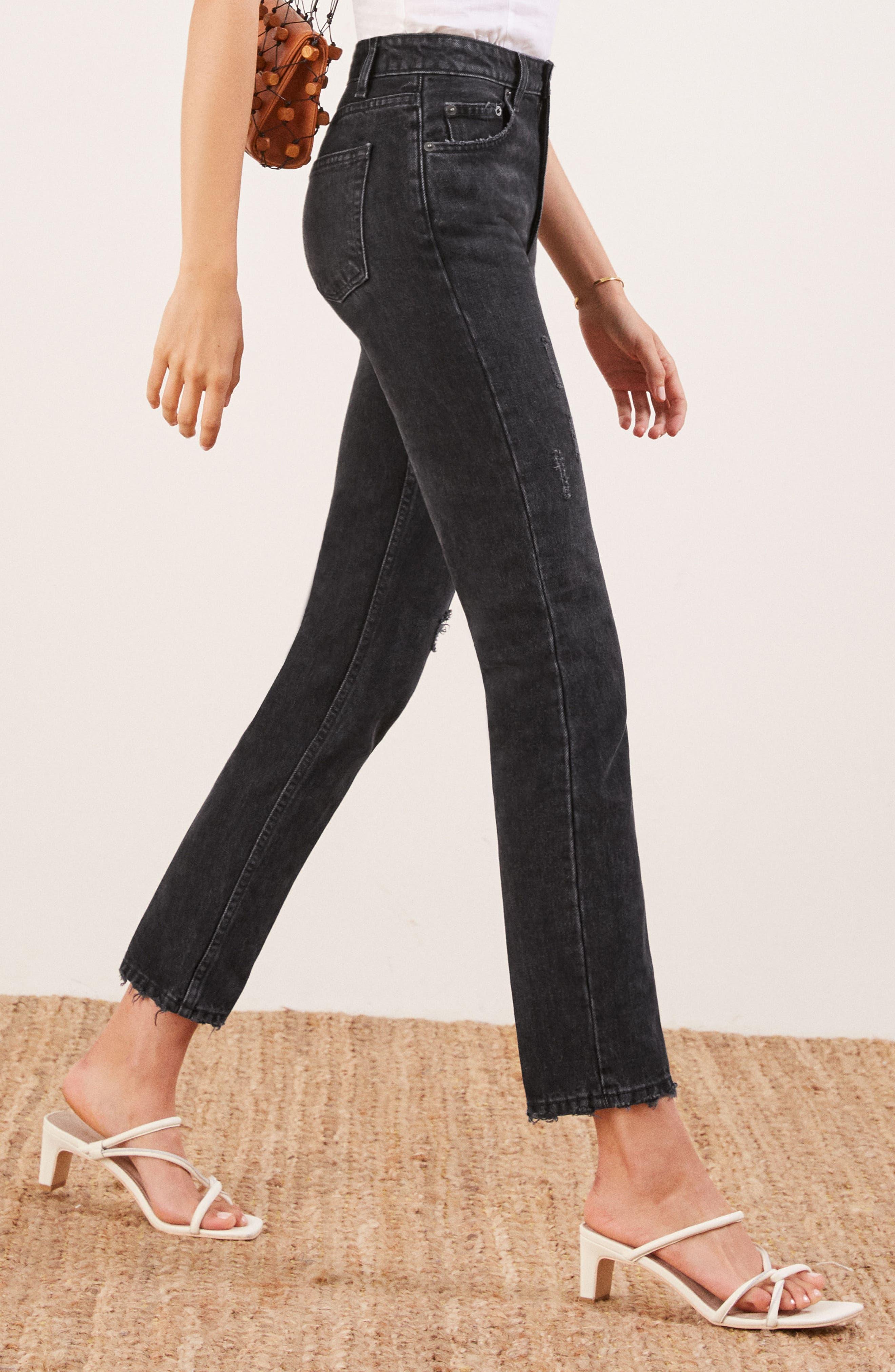 REFORMATION, Julia High Waist Cigarette Jeans, Alternate thumbnail 3, color, BLACK