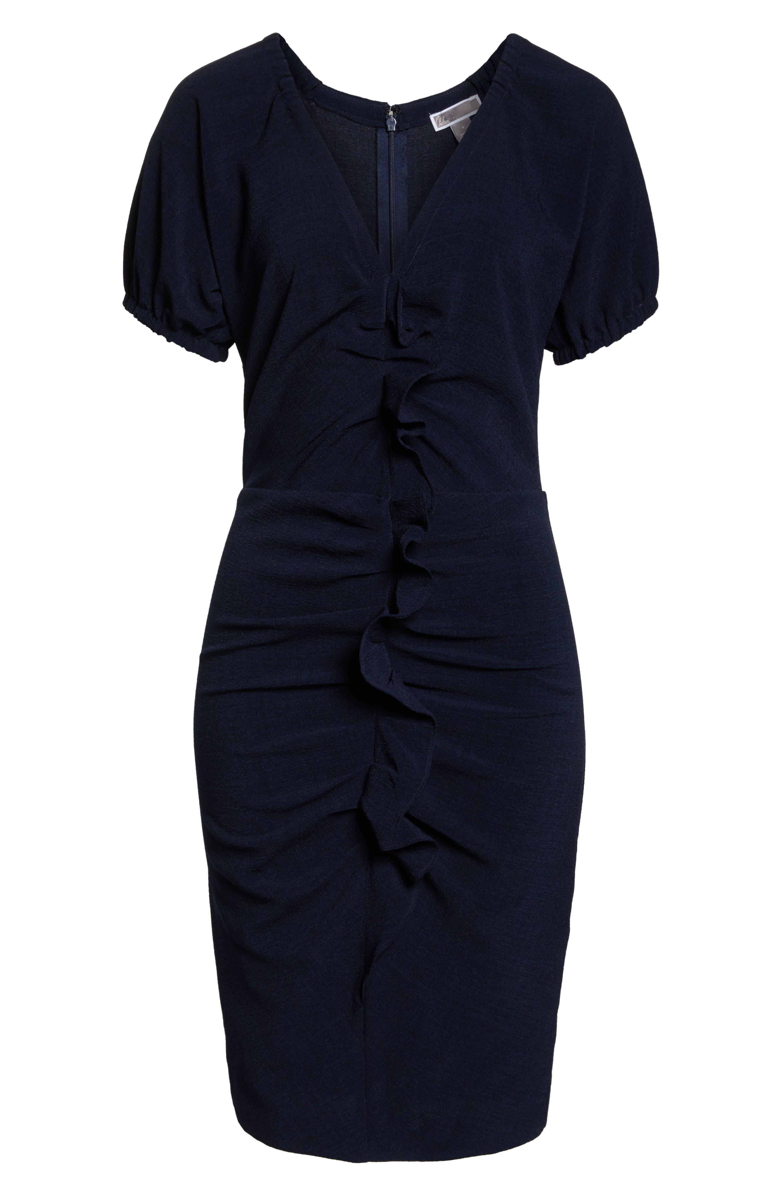 CHELSEA28, Ruffle Front Sheath Dress, Alternate thumbnail 7, color, 410