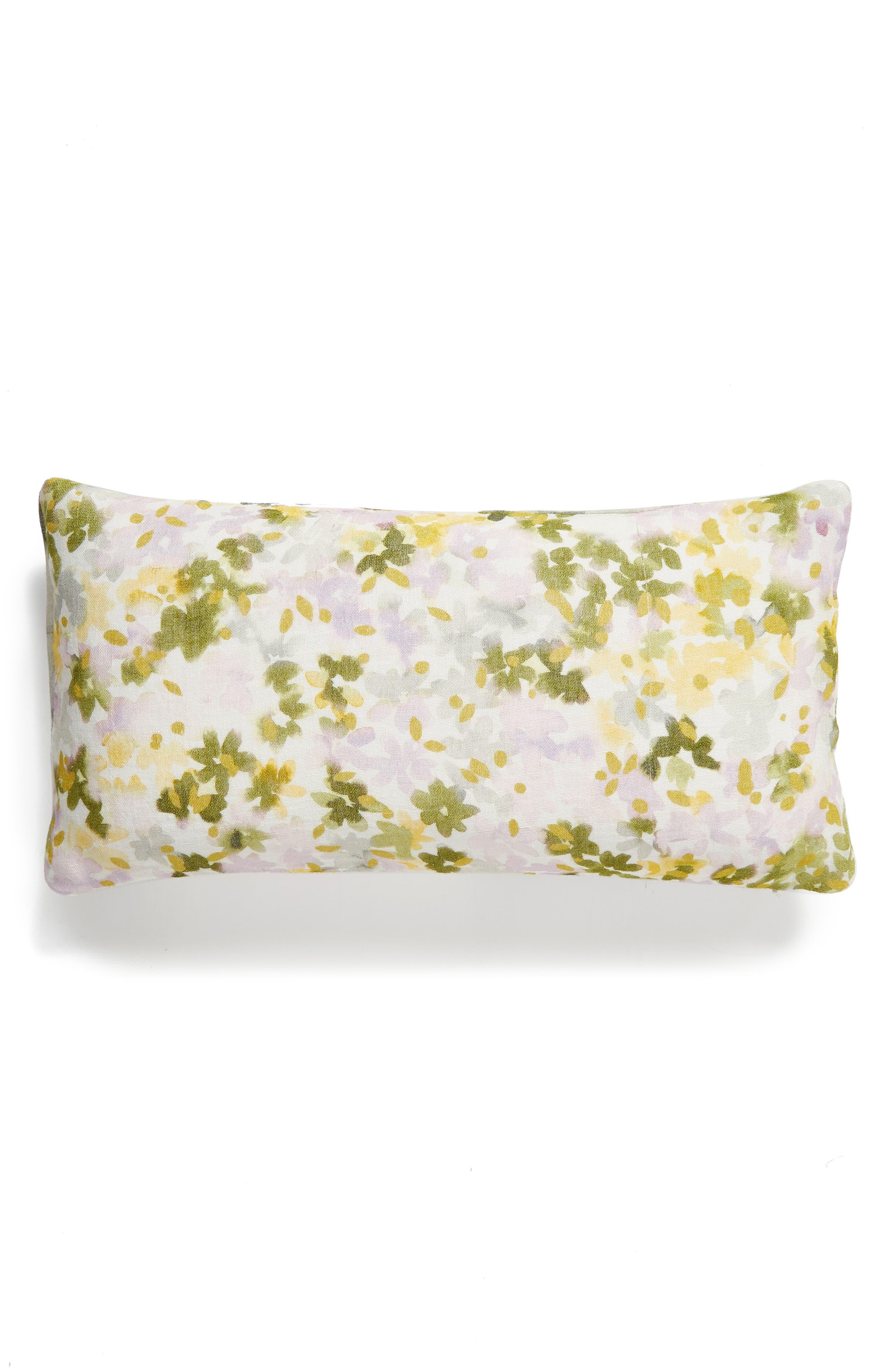 NORDSTROM AT HOME, Floral Linen Accent Pillow, Alternate thumbnail 2, color, GREY VAPOR MULTI