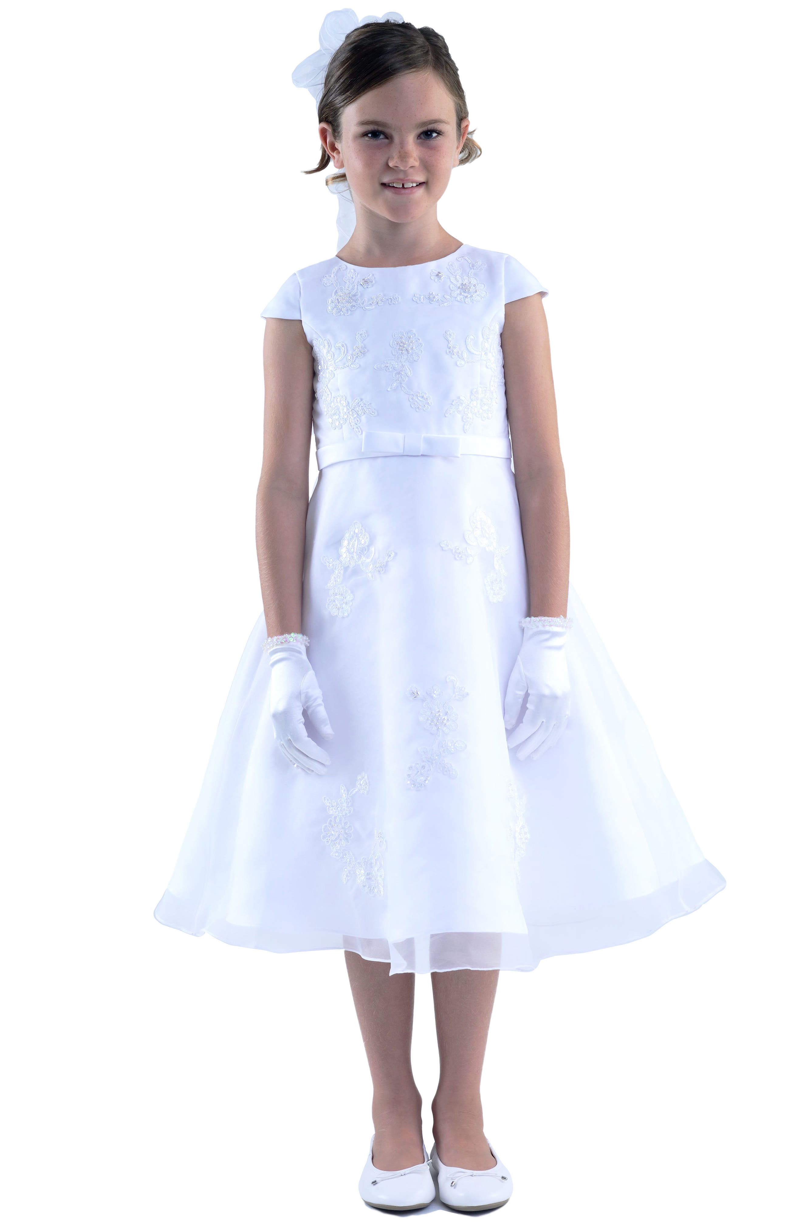 US ANGELS, Embroidered A-Line Dress, Alternate thumbnail 7, color, WHITE