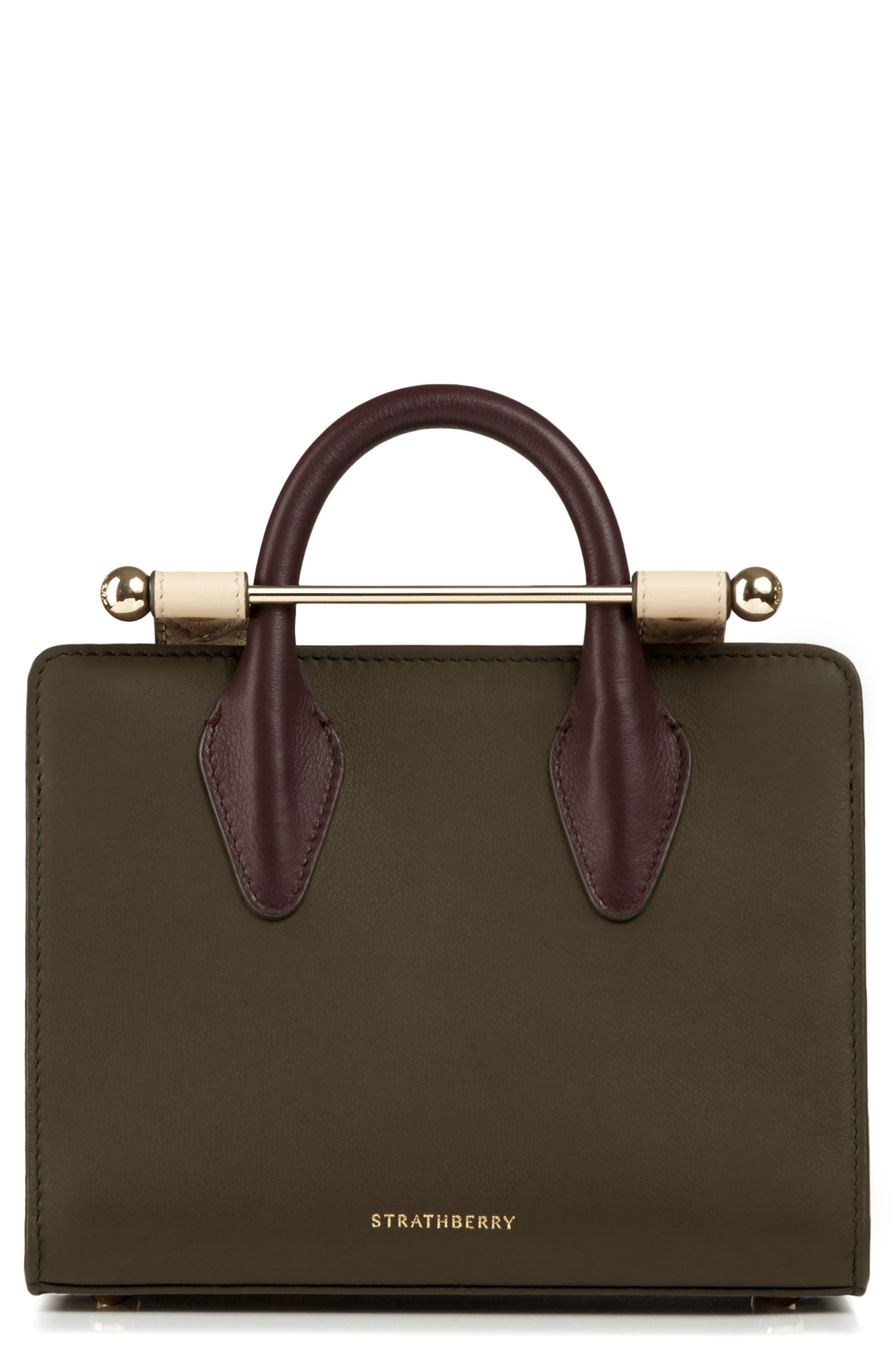STRATHBERRY Nano Tricolor Leather Satchel, Main, color, FOREST/ SAND/ BURGUNDY