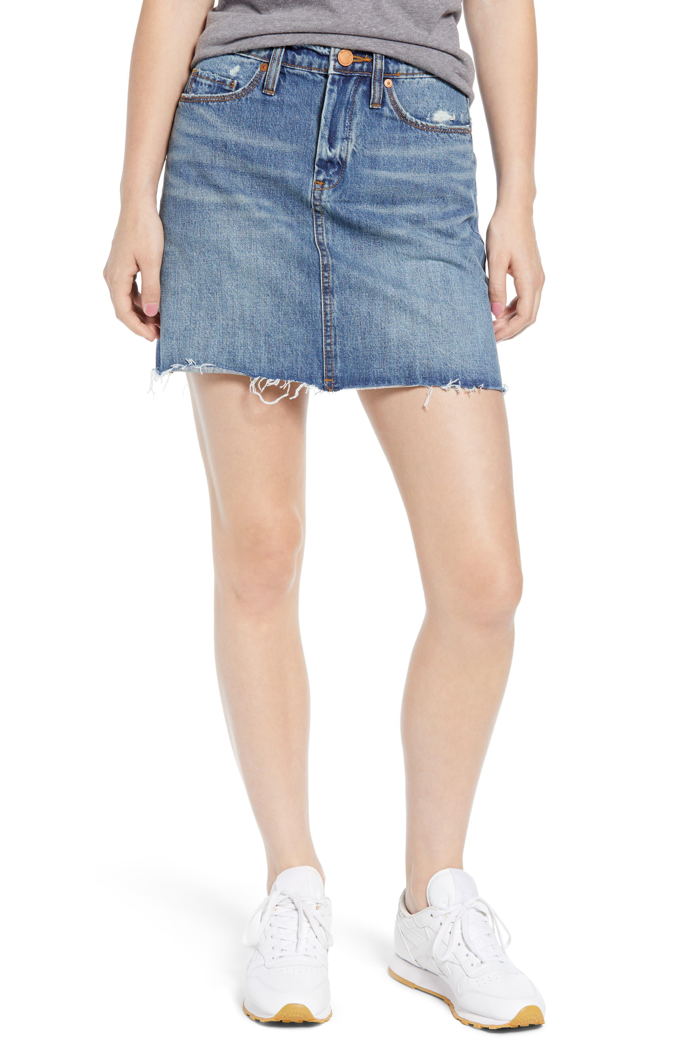 BLANKNYC Way Back When Cutoff Denim Skirt, Main, color, 400