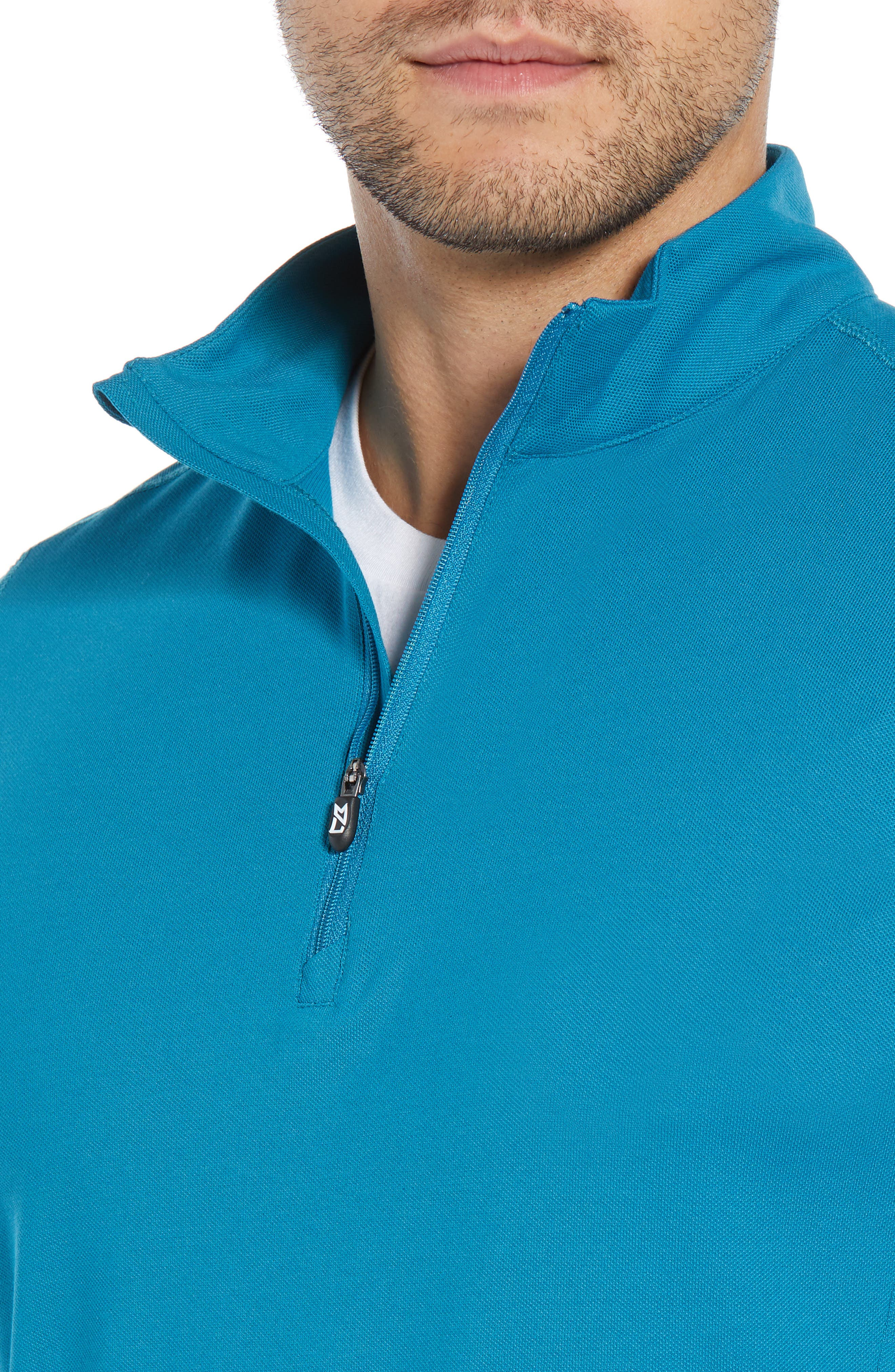 CUTTER & BUCK, Advantage Regular Fit DryTec Mock Neck Pullover, Alternate thumbnail 4, color, TEAL BLUE