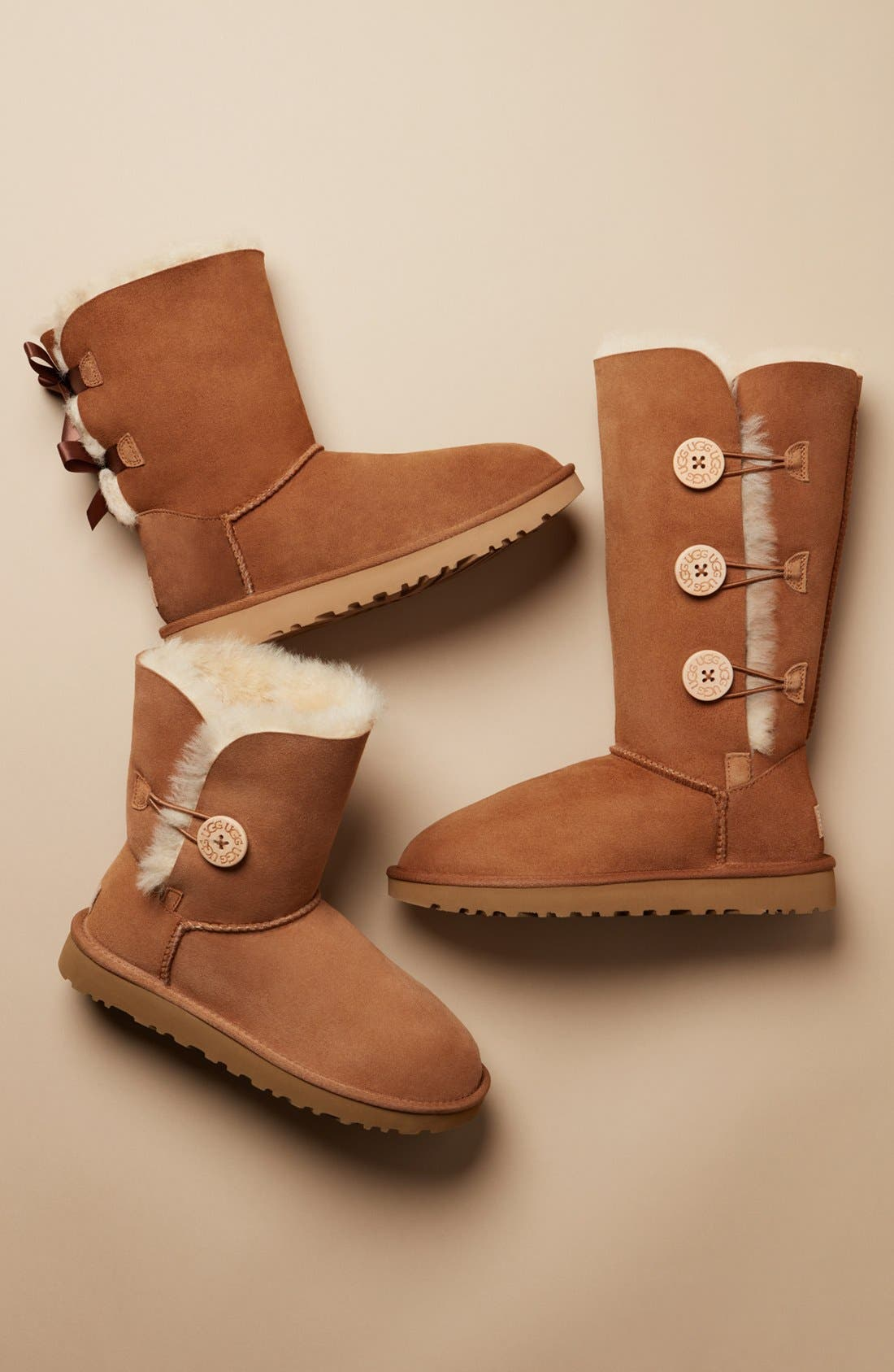 UGG<SUP>®</SUP>, Bailey Button Triplet II Genuine Shearling Boot, Alternate thumbnail 6, color, CHESTNUT SUEDE