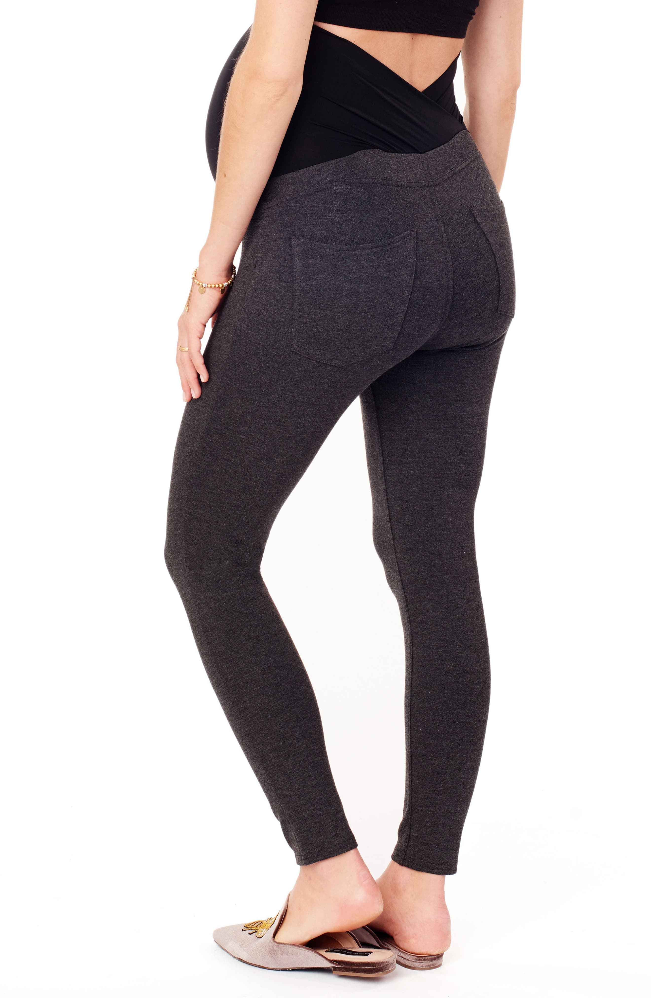 INGRID & ISABEL<SUP>®</SUP>, Ponte Knit Skinny Maternity Ankle Leggings, Alternate thumbnail 4, color, HEATHER GREY
