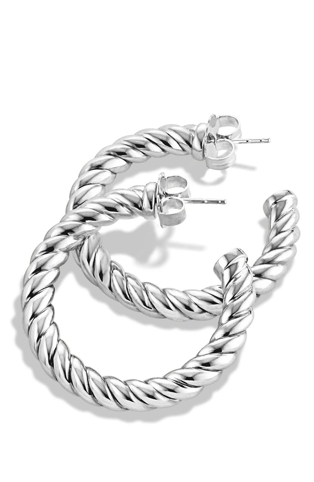 DAVID YURMAN, 'Cable Classics' Hoop Earrings, Alternate thumbnail 3, color, SILVER