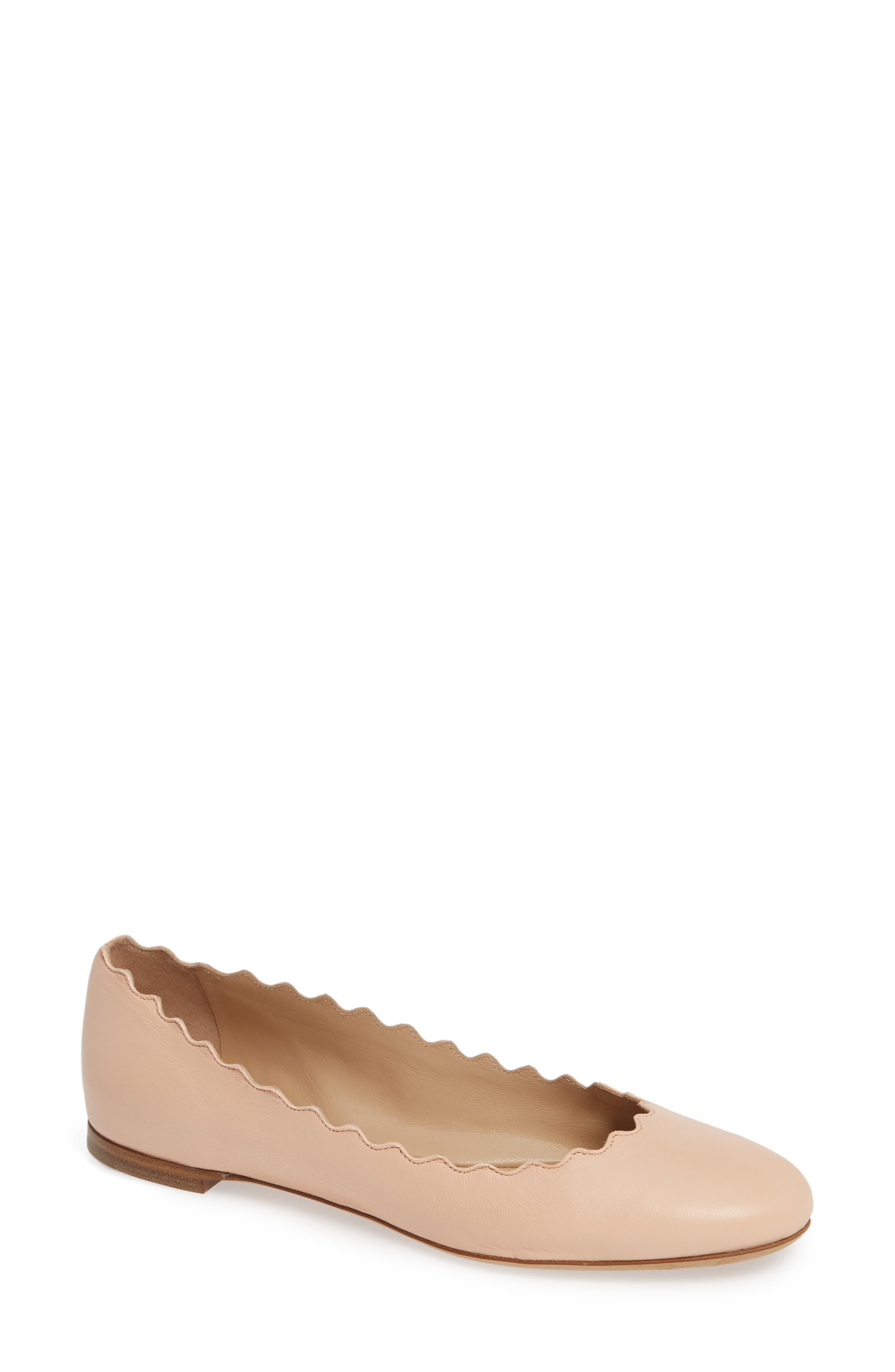 CHLOÉ 'Lauren' Scalloped Ballet Flat, Main, color, DELICATE PINK LEATHER