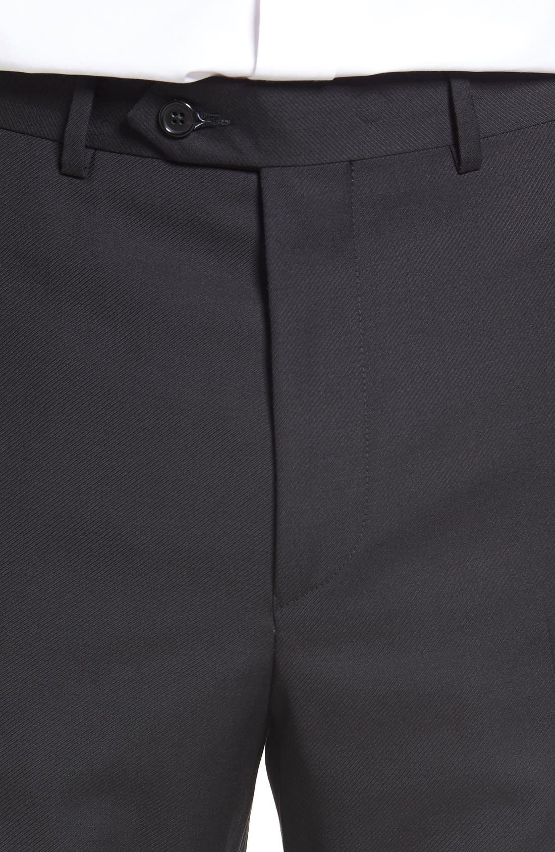 SANTORELLI, Flat Front Twill Wool Trousers, Alternate thumbnail 5, color, BLACK