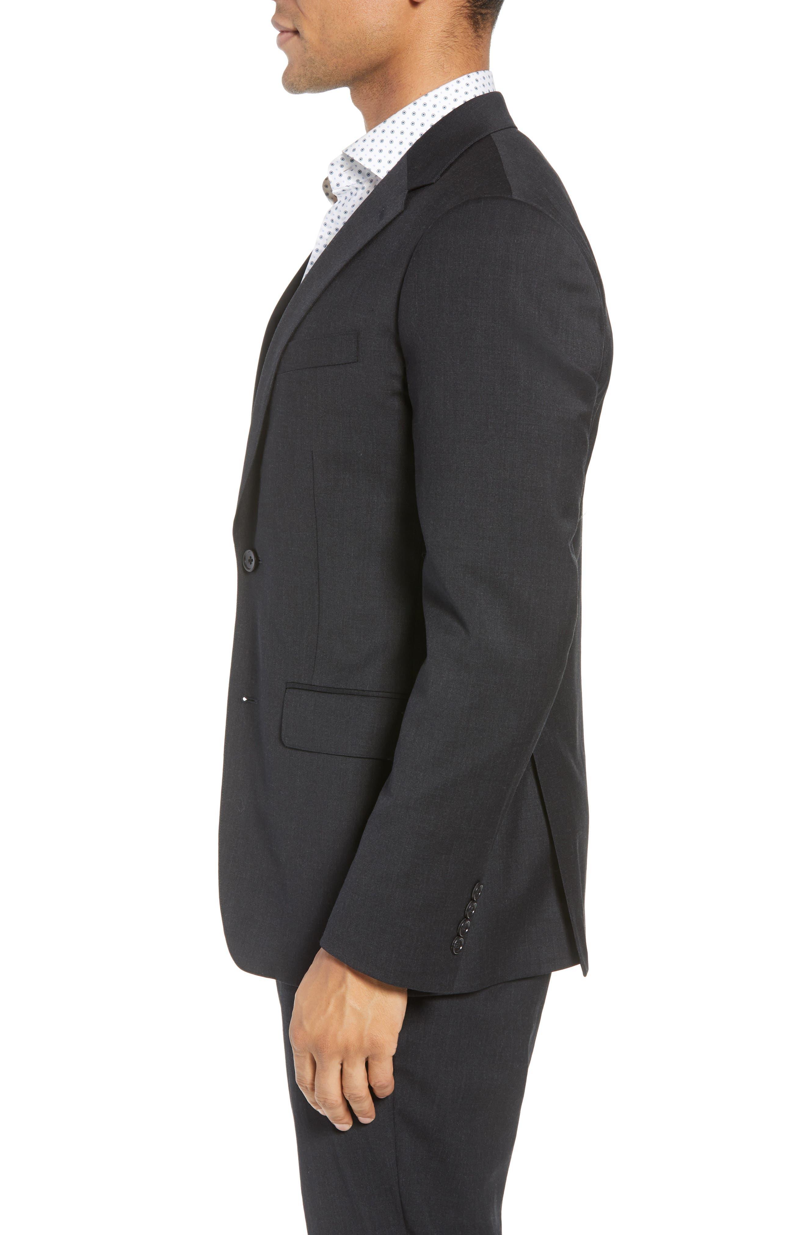 BONOBOS, Jetsetter Slim Fit Stretch Wool Blazer, Alternate thumbnail 4, color, CHARCOAL