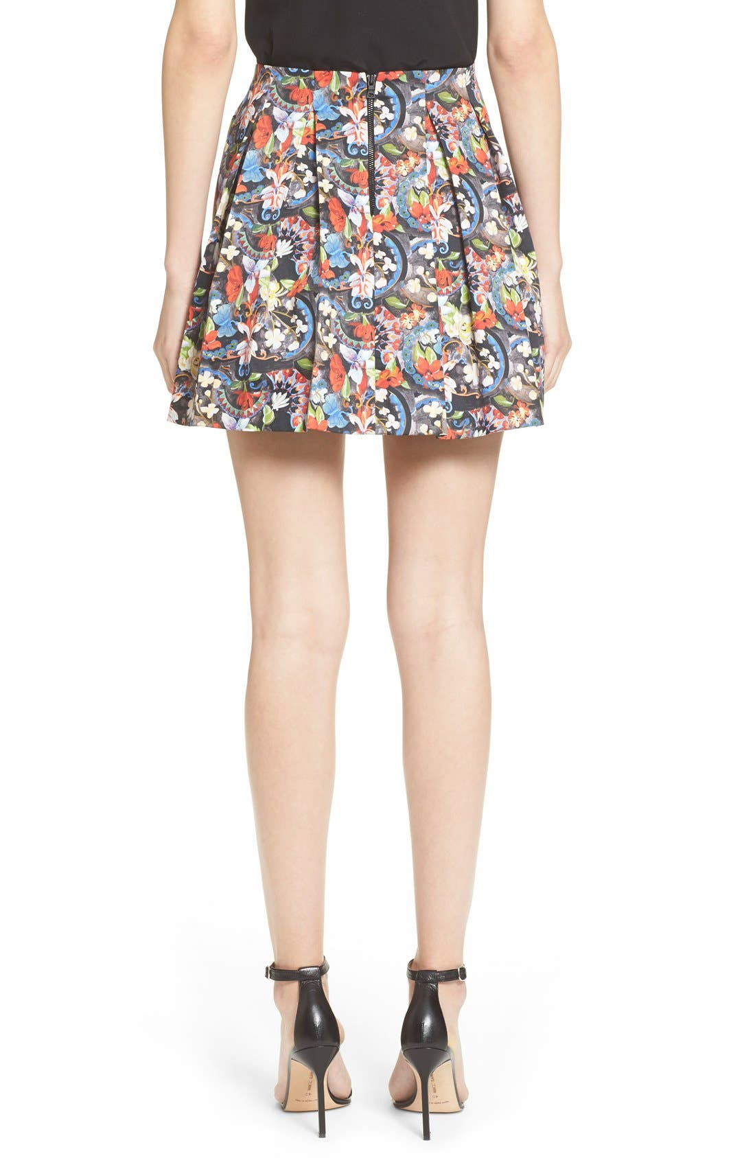 ALICE + OLIVIA, 'Parson' Floral Print Pleated Miniskirt, Alternate thumbnail 3, color, 605