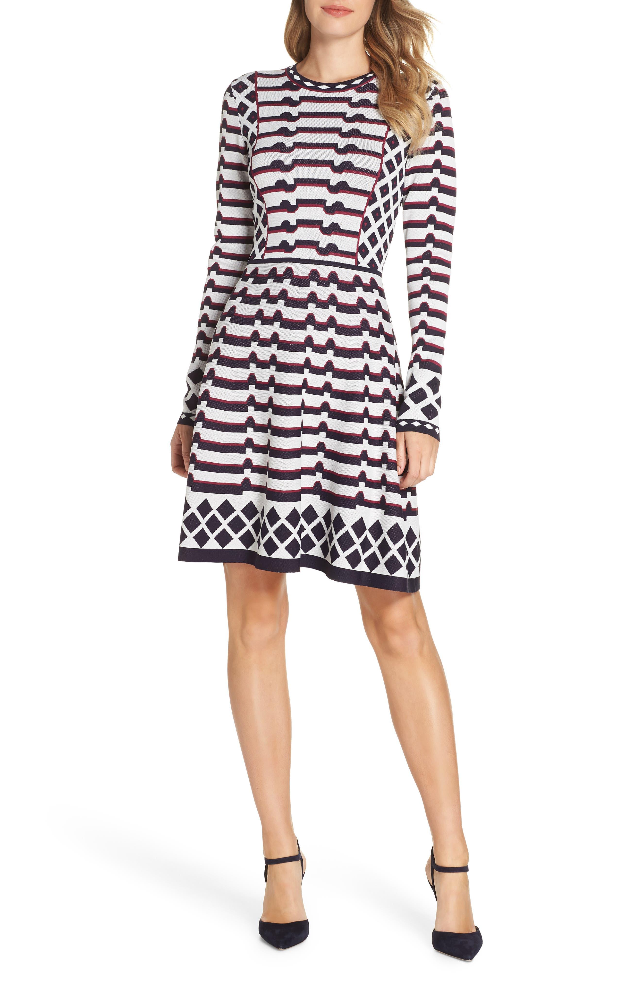 ELIZA J, Artwork Jacquard Sweater Dress, Main thumbnail 1, color, 410