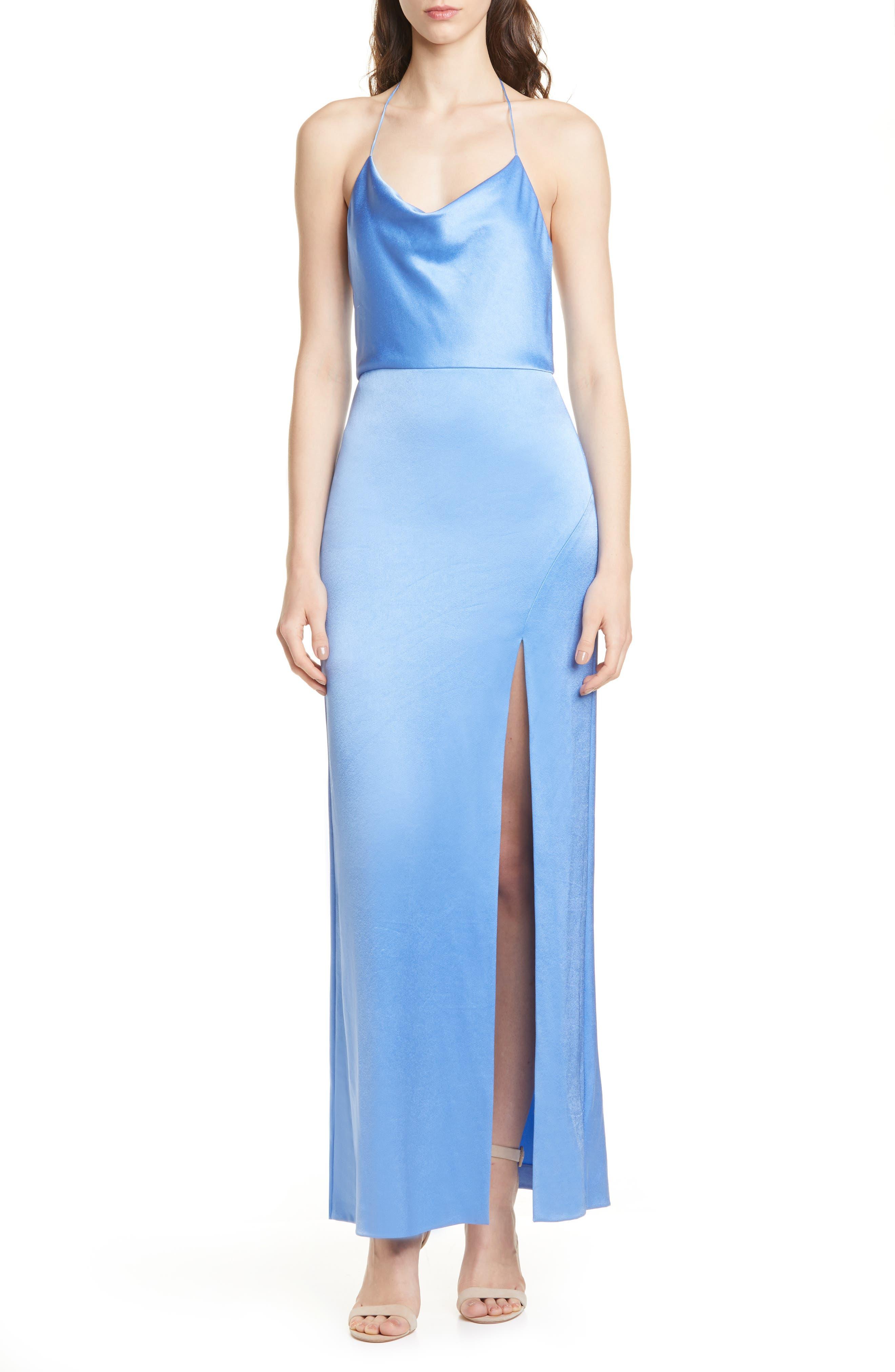 Alice + Olivia Eliza Cowl Neck High Slit Maxi Slipdress, Blue