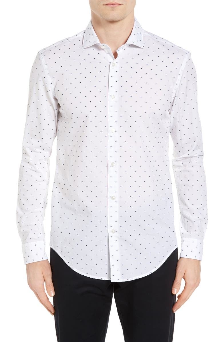 9615e535e BOSS Ridley Slim Fit Dot Sport Shirt, Main, color, 100
