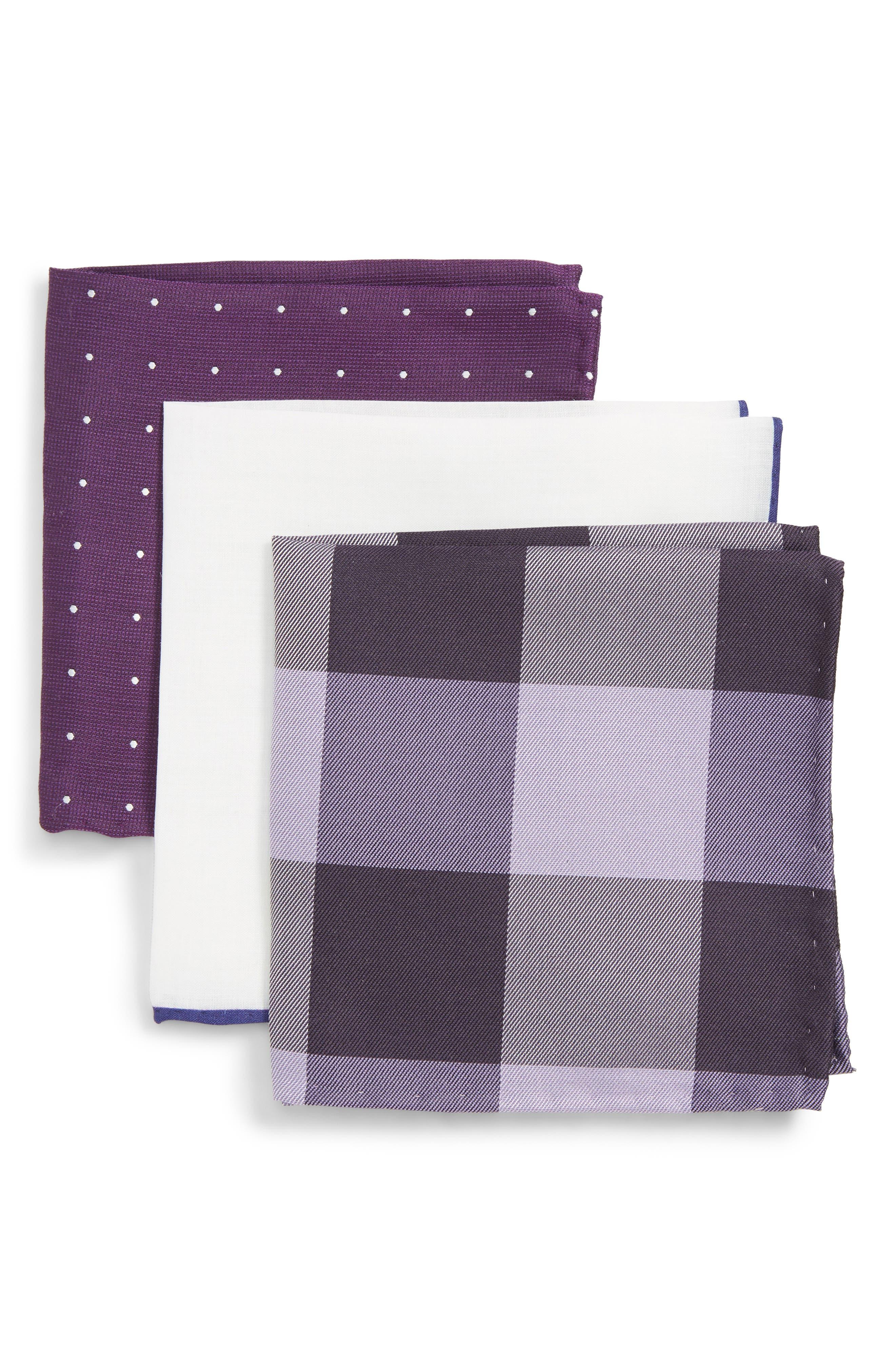 THE TIE BAR, 3-Pack Pocket Squares, Main thumbnail 1, color, EGGPLANT