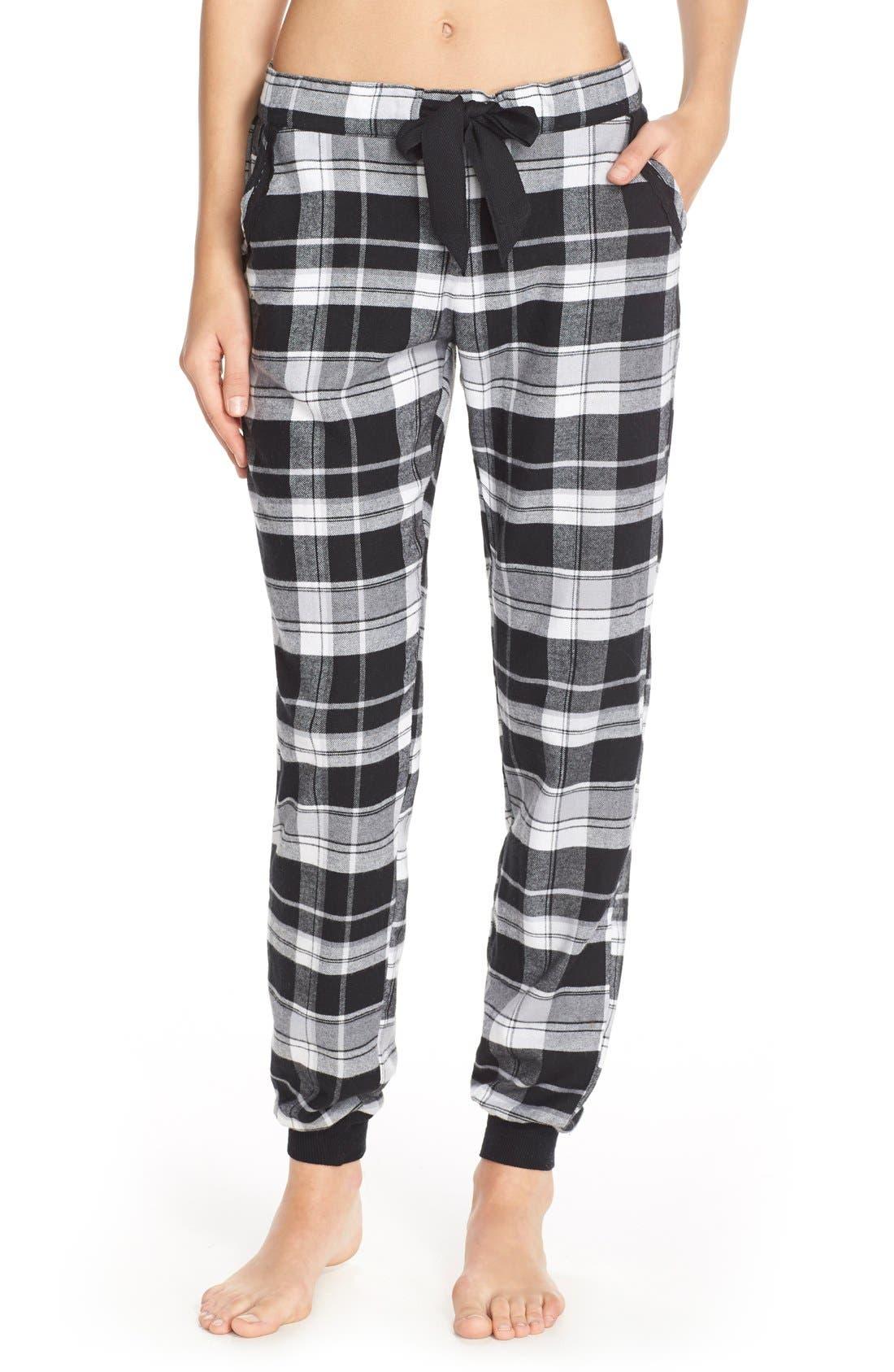 MAKE + MODEL, Plaid Flannel Lounge Pants, Main thumbnail 1, color, 001