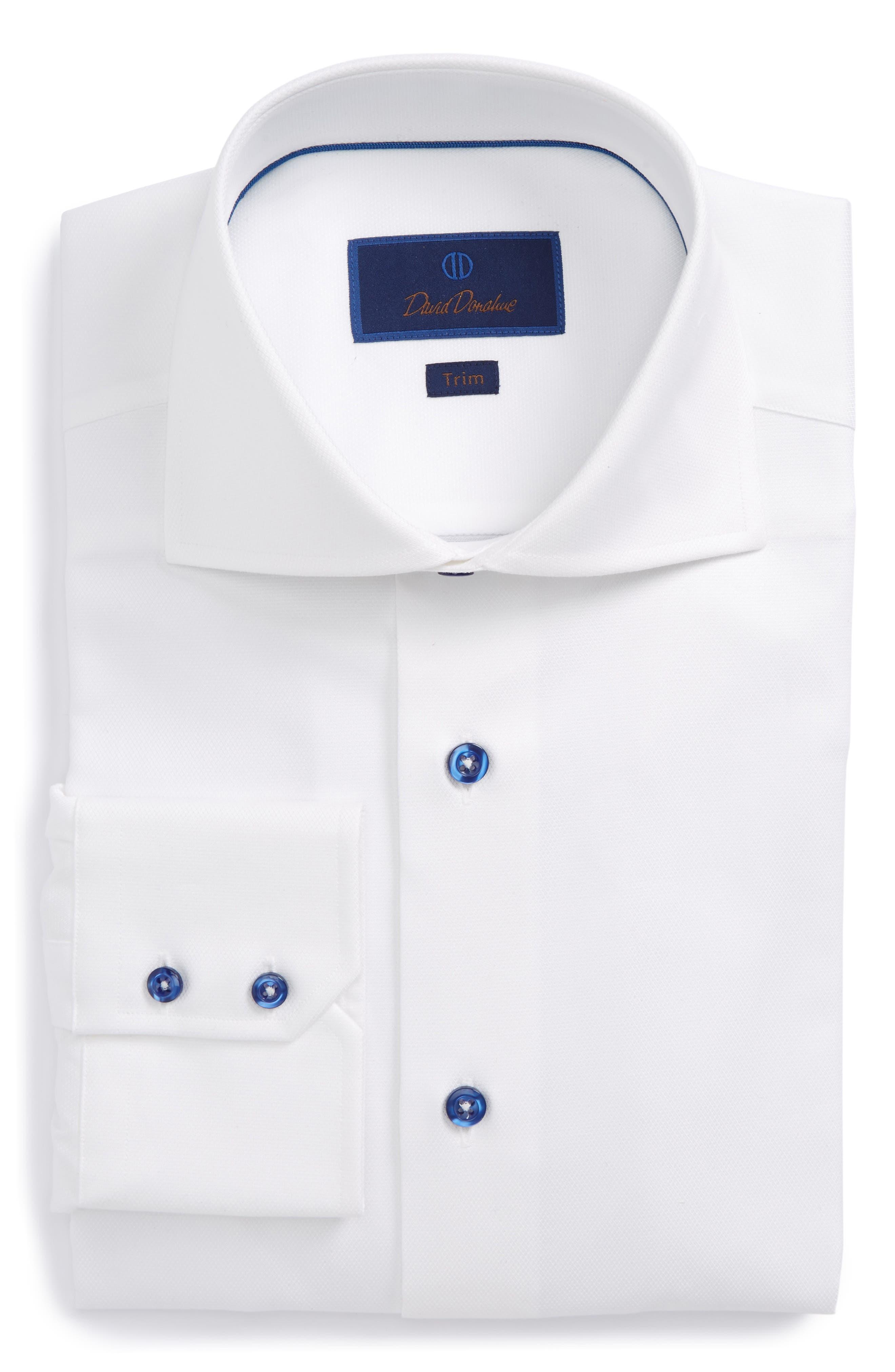 DAVID DONAHUE, Trim Fit Diamond Weave Dress Shirt, Main thumbnail 1, color, WHITE