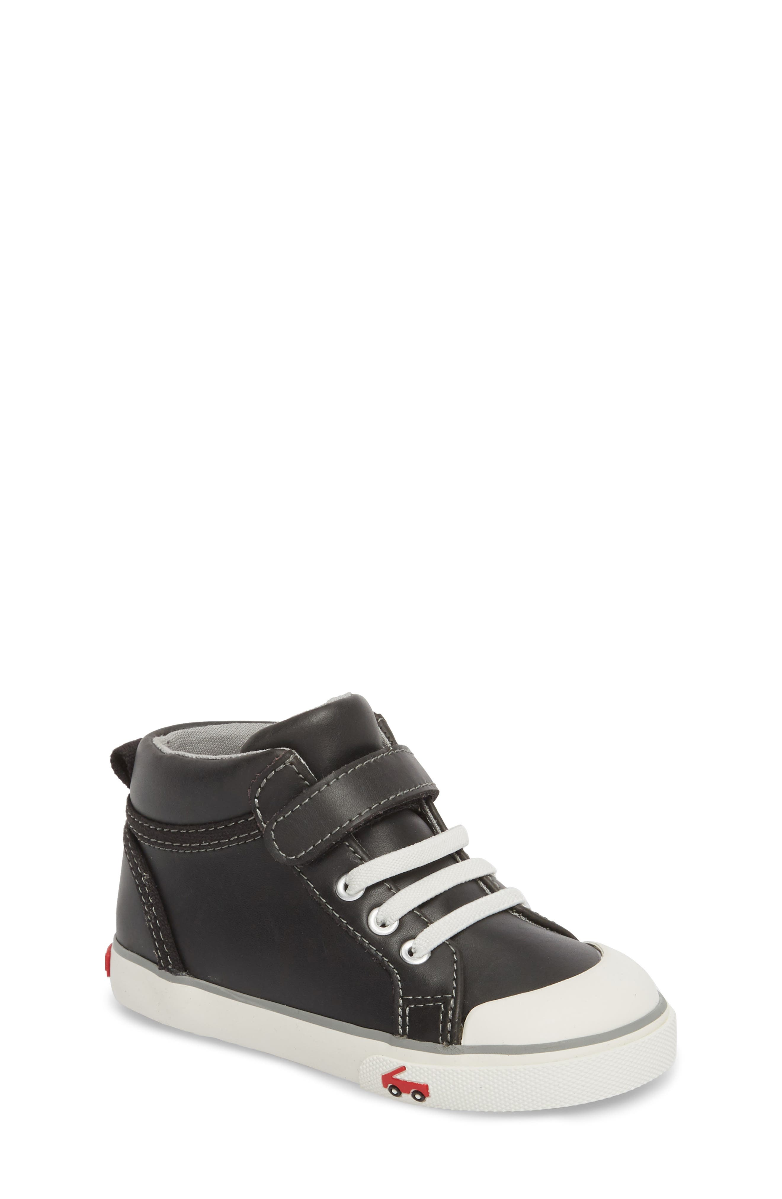 SEE KAI RUN Peyton High Top Sneaker, Main, color, BLACK LEATHER