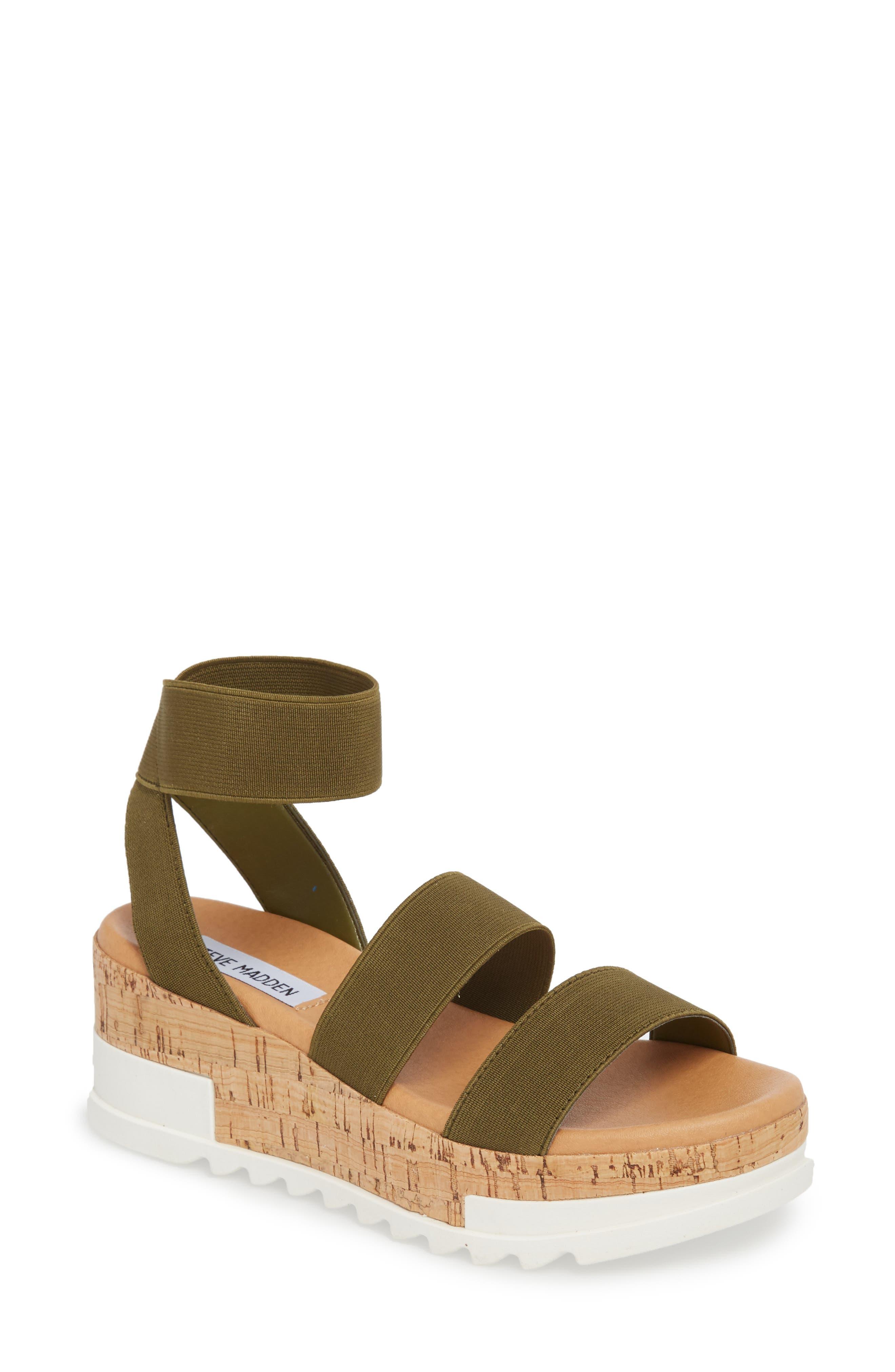 STEVE MADDEN, Bandi Platform Wedge Sandal, Main thumbnail 1, color, OLIVE