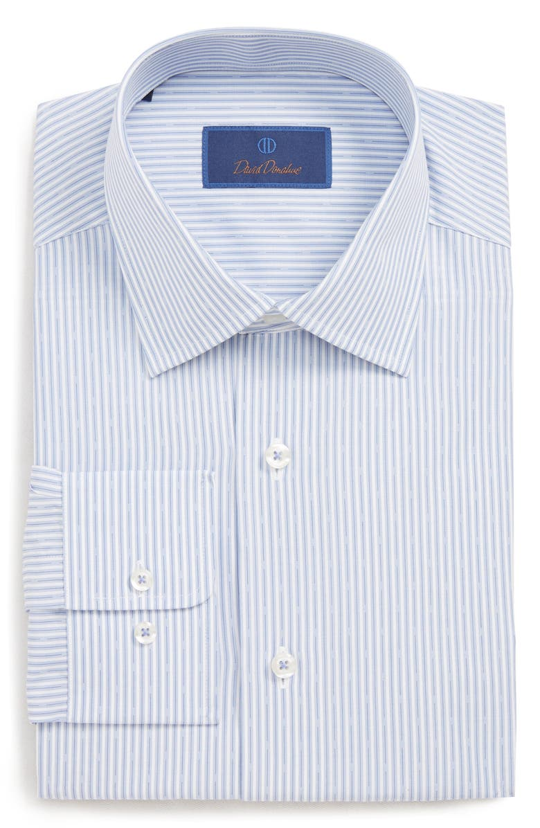 David Donahue  REGULAR FIT STRIPE DRESS SHIRT