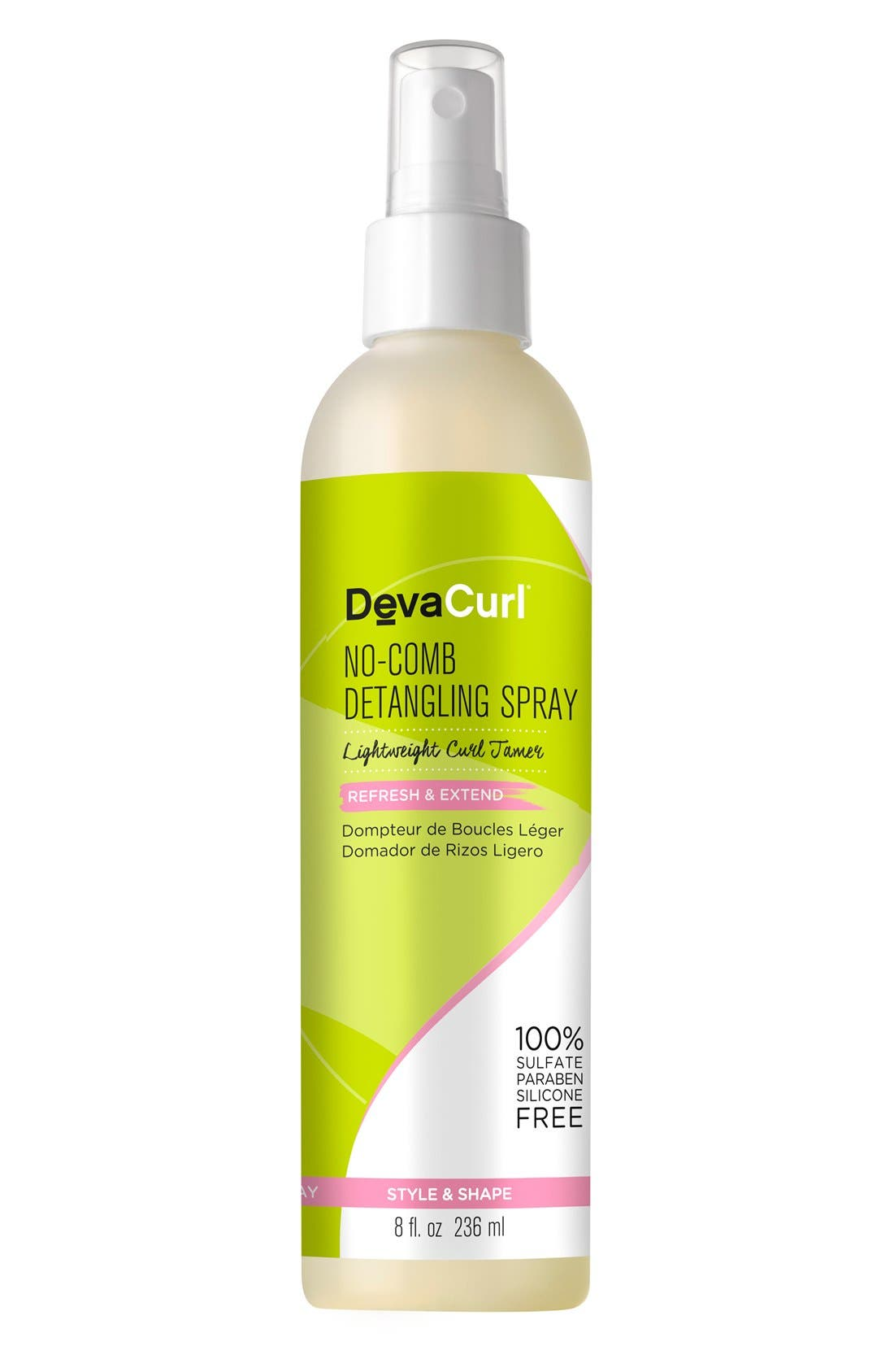 DEVACURL, No-Comb Detangling Spray Lightweight Curl Tamer, Main thumbnail 1, color, NO COLOR