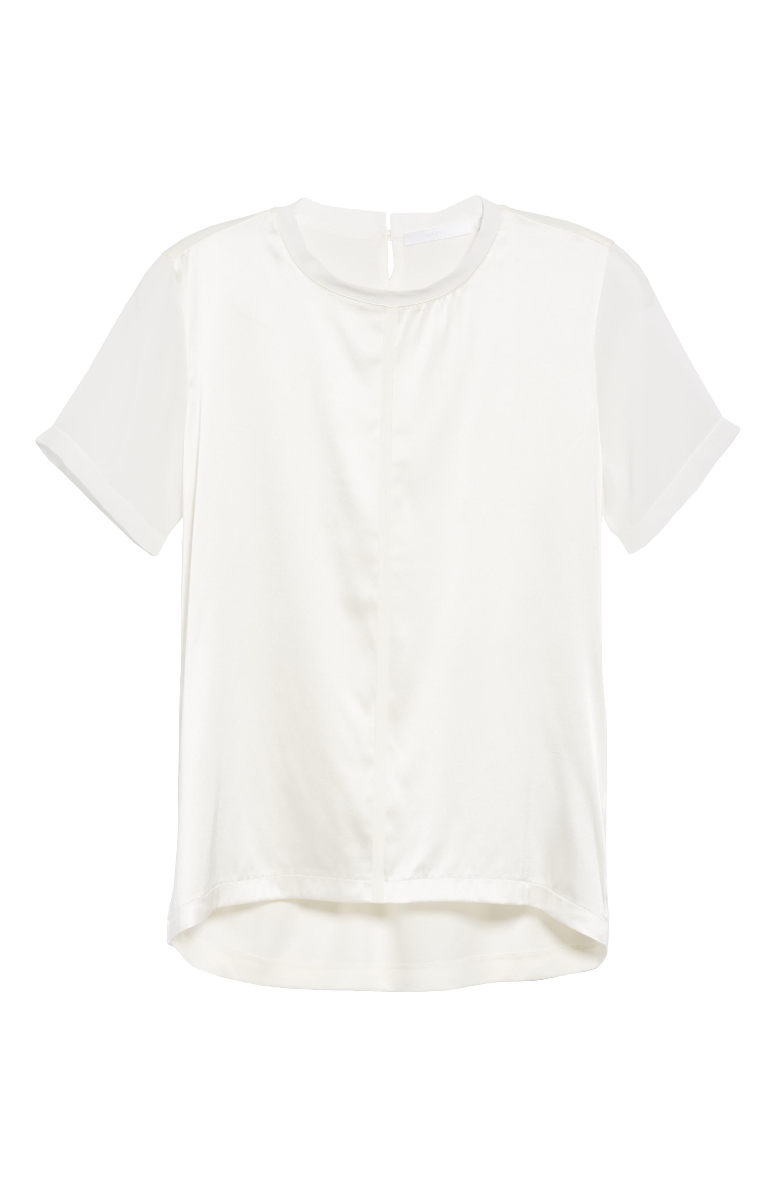 BOSS, Efrona Sheer Sleeve Top, Alternate thumbnail 6, color, 112